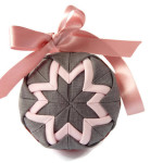 Pink and Grey Fabric Quilted Ball Decoration with Ribbon Bow by Eliston Button - About Me at www.elistonbutton.com - Eliston Button - That Crafty Kid – Art, Design, Craft & Adventure.