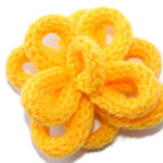 Sunshine Yellow French Knitted Flower Hair Grip by Eliston Button - About Me at www.elistonbutton.com - Eliston Button - That Crafty Kid – Art, Design, Craft & Adventure.