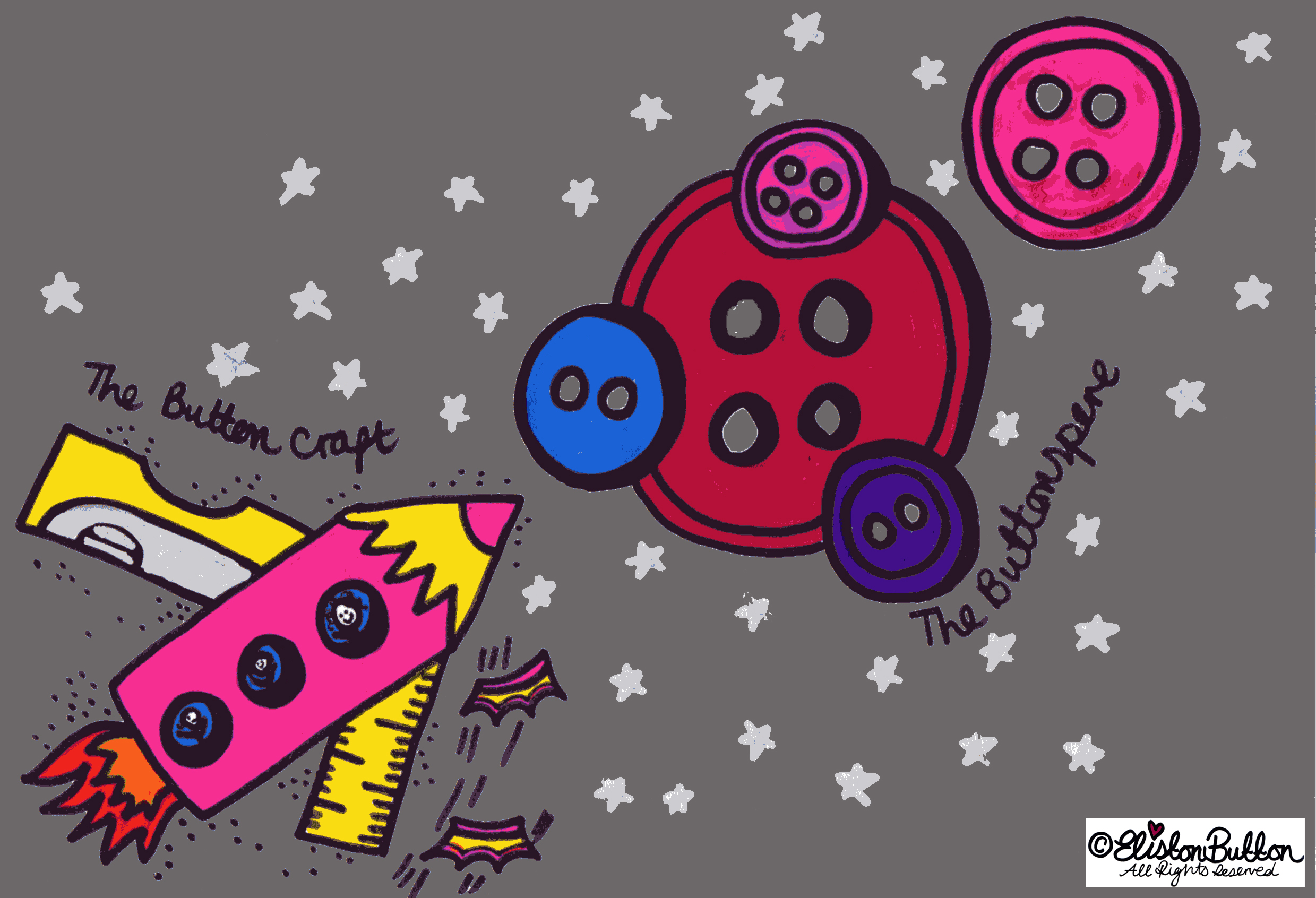 The Buttonsphere Crafty Illustration - Hello! Good Day! Bonjour! Aloha! at www.elistonbutton.com - Eliston Button - That Crafty Kid – Art, Design, Craft & Adventure.
