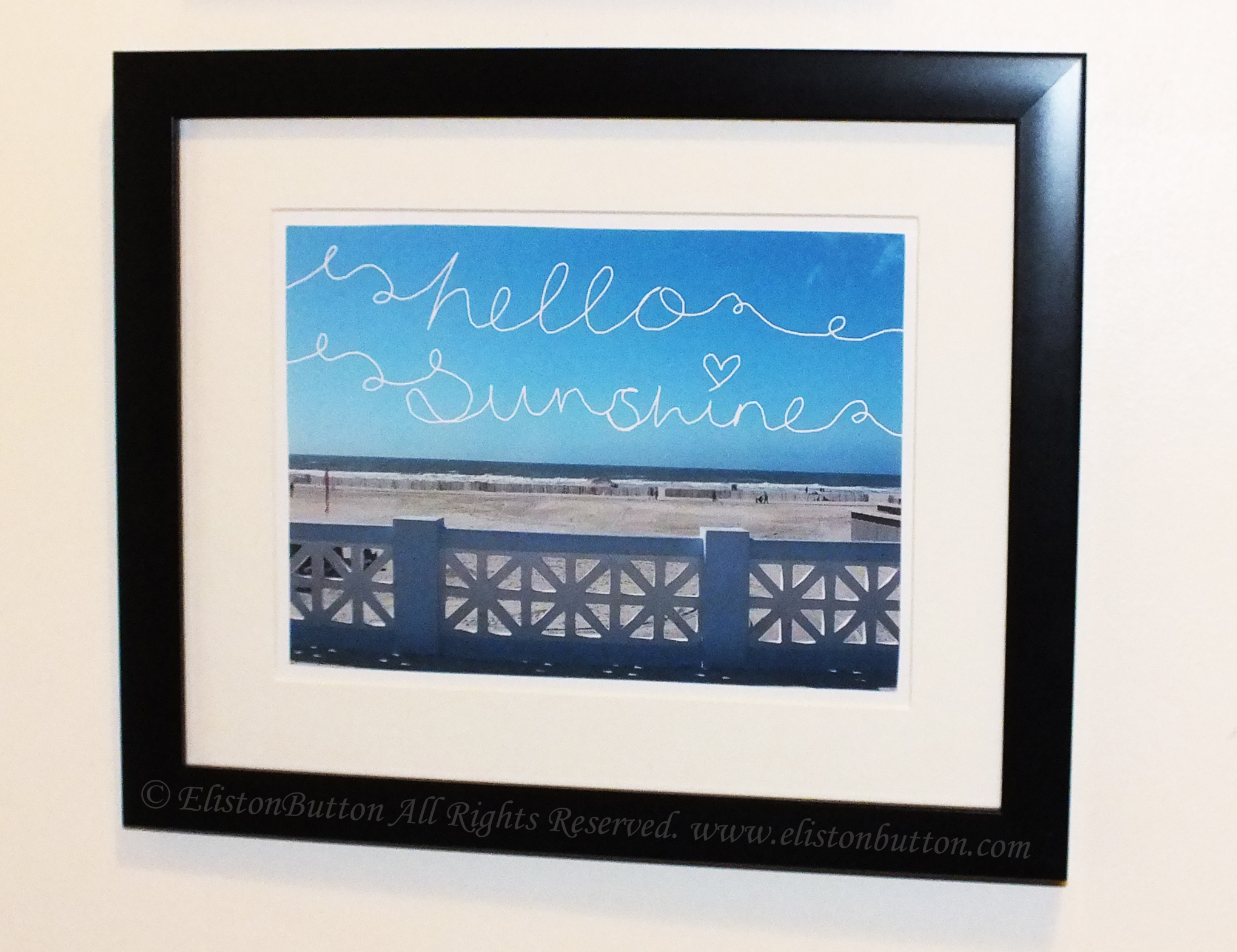 Hello Sunshine Framed Photograph with Hand Lettering - Creating My Own Wall Art at www.elistonbutton.com - Eliston Button - That Crafty Kid – Art, Design, Craft & Adventure.