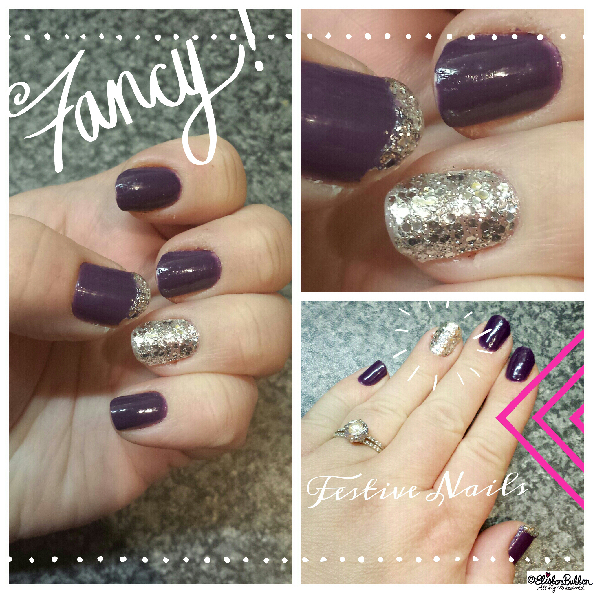 Fancy Purple Nails with Silver Glitter Accent Nail - Hello Winter... at www.elistonbutton.com - Eliston Button - That Crafty Kid – Art, Design, Craft & Adventure.
