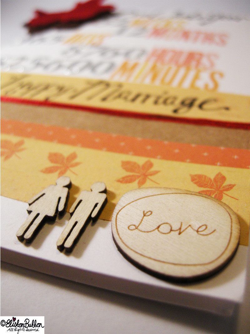 Studio Calico Wood Scrapbook Embellishments on an Autumn Themed Anniversary Card - An Autumn Anniversary at www.elistonbutton.com - Eliston Button - That Crafty Kid – Art, Design, Craft & Adventure.