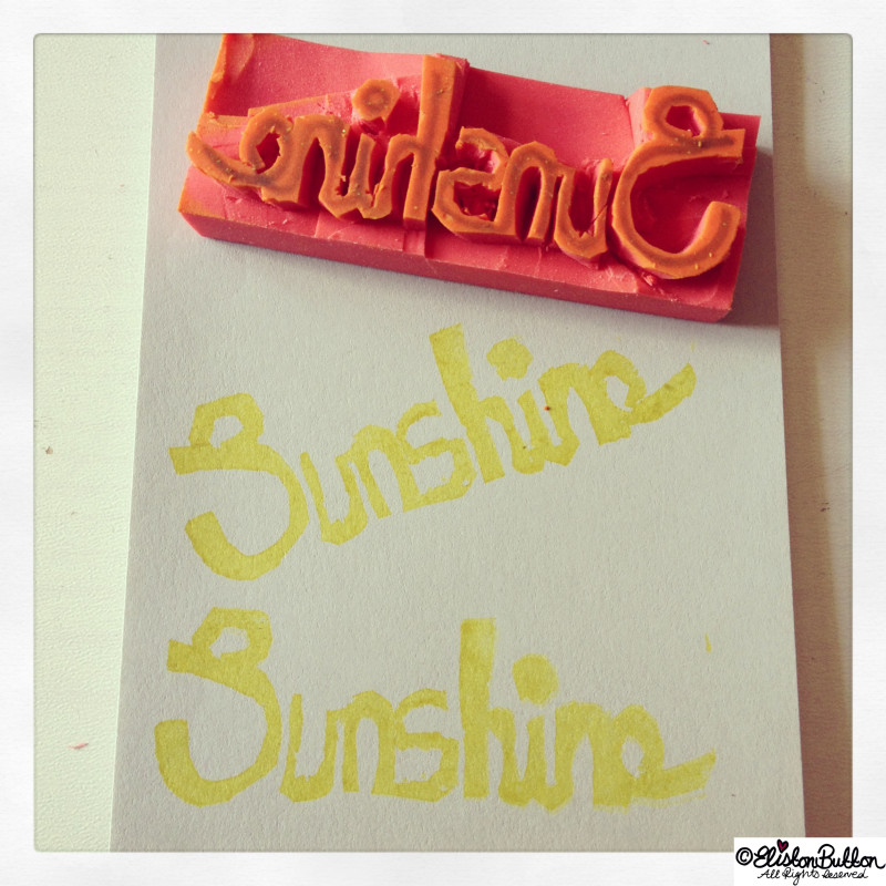 Sunshine Word Hand-Carved Stamp - Hand Carved Rubber Stamps at www.elistonbutton.com - Eliston Button - That Crafty Kid – Art, Design, Craft & Adventure.