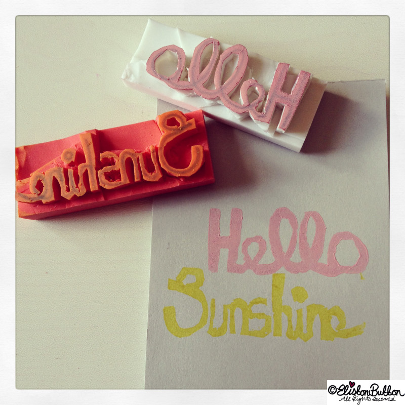 Hello Sunshine Words Hand-Carved Stamp - Hand Carved Rubber Stamps at www.elistonbutton.com - Eliston Button - That Crafty Kid – Art, Design, Craft & Adventure.