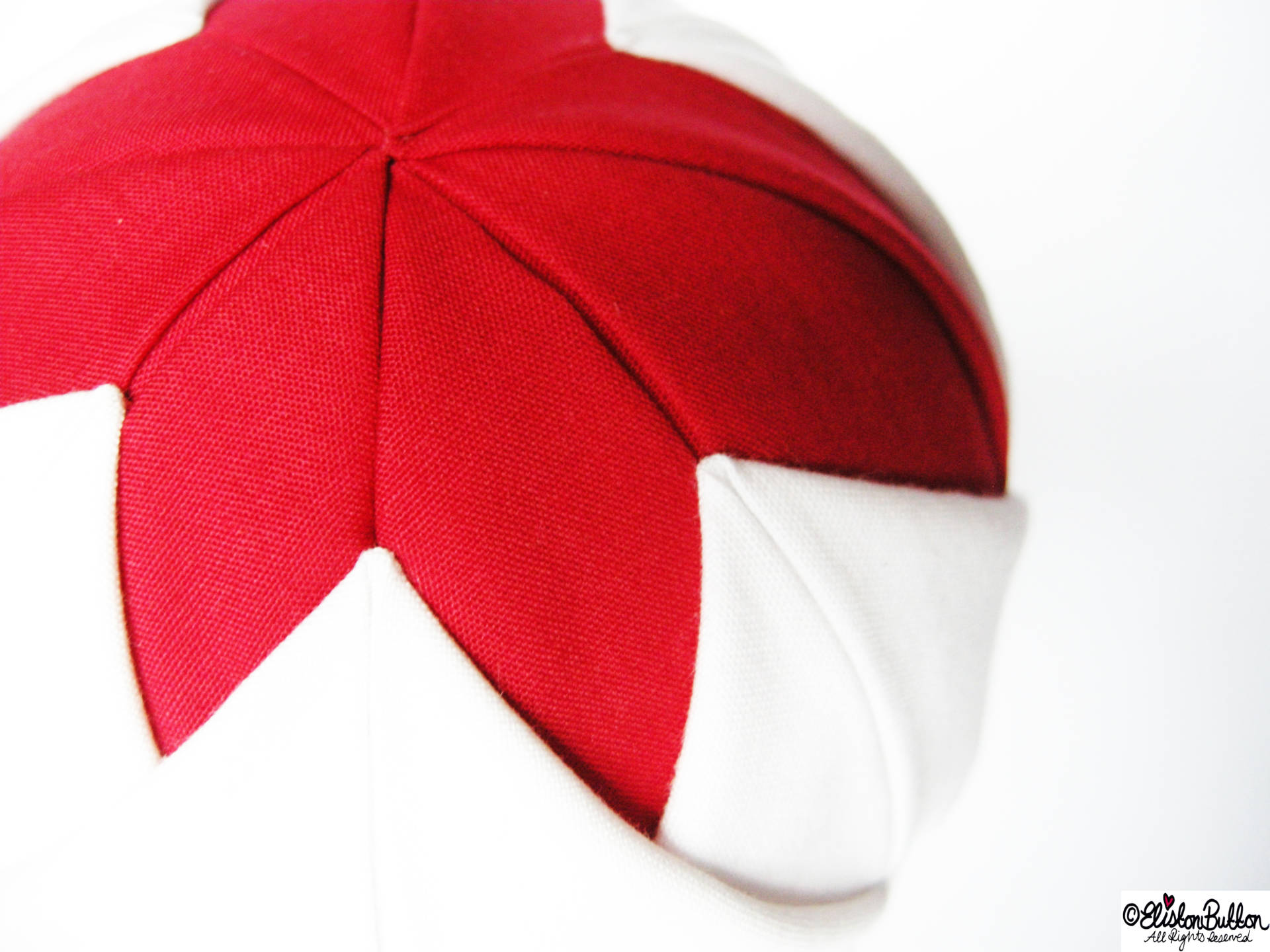 Close up of Red and White Quilted Fabric Layer Two - Quilted Christmas Baubles - A Tutorial at www.elistonbutton.com - Eliston Button - That Crafty Kid – Art, Design, Craft & Adventure.