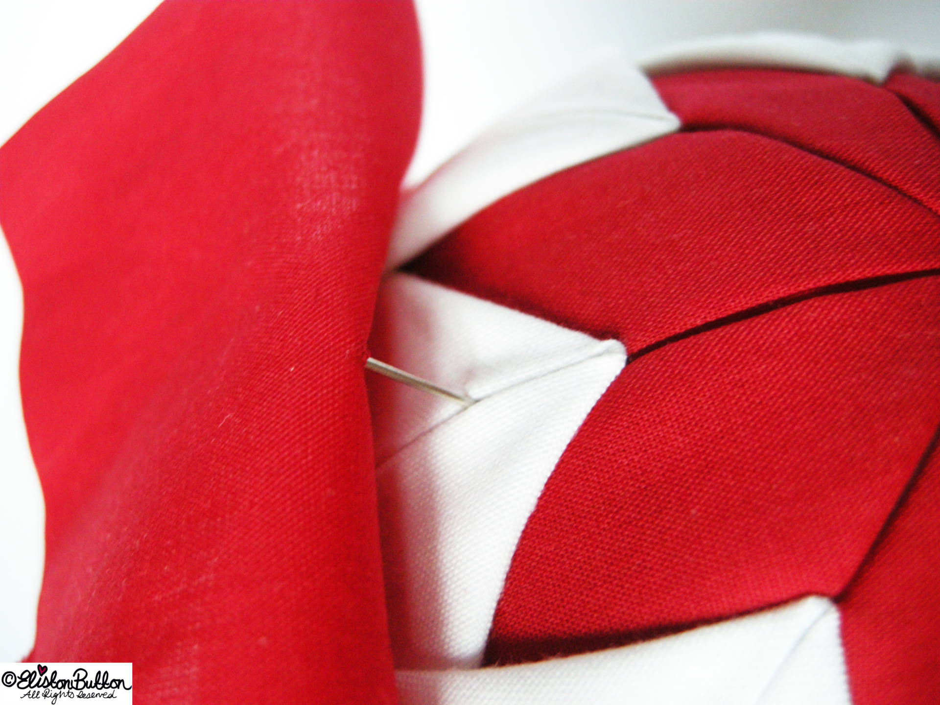 Pinning the Red Fabic Layer - Quilted Christmas Baubles - A Tutorial at www.elistonbutton.com - Eliston Button - That Crafty Kid – Art, Design, Craft & Adventure.
