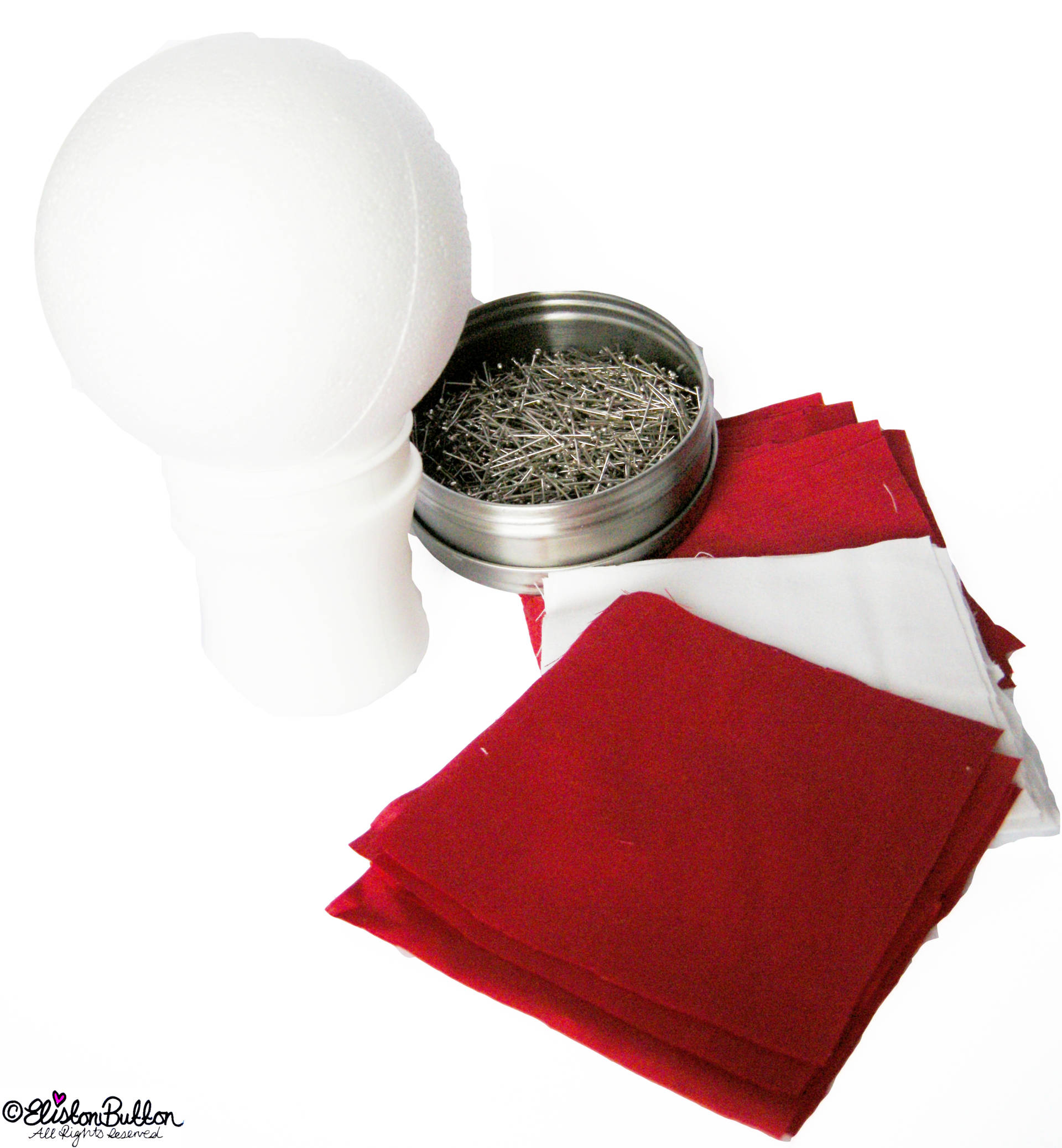 Supplies Needed to Make a Quilted Christmas Bauble - Quilted Christmas Baubles - A Tutorial at www.elistonbutton.com - Eliston Button - That Crafty Kid – Art, Design, Craft & Adventure.