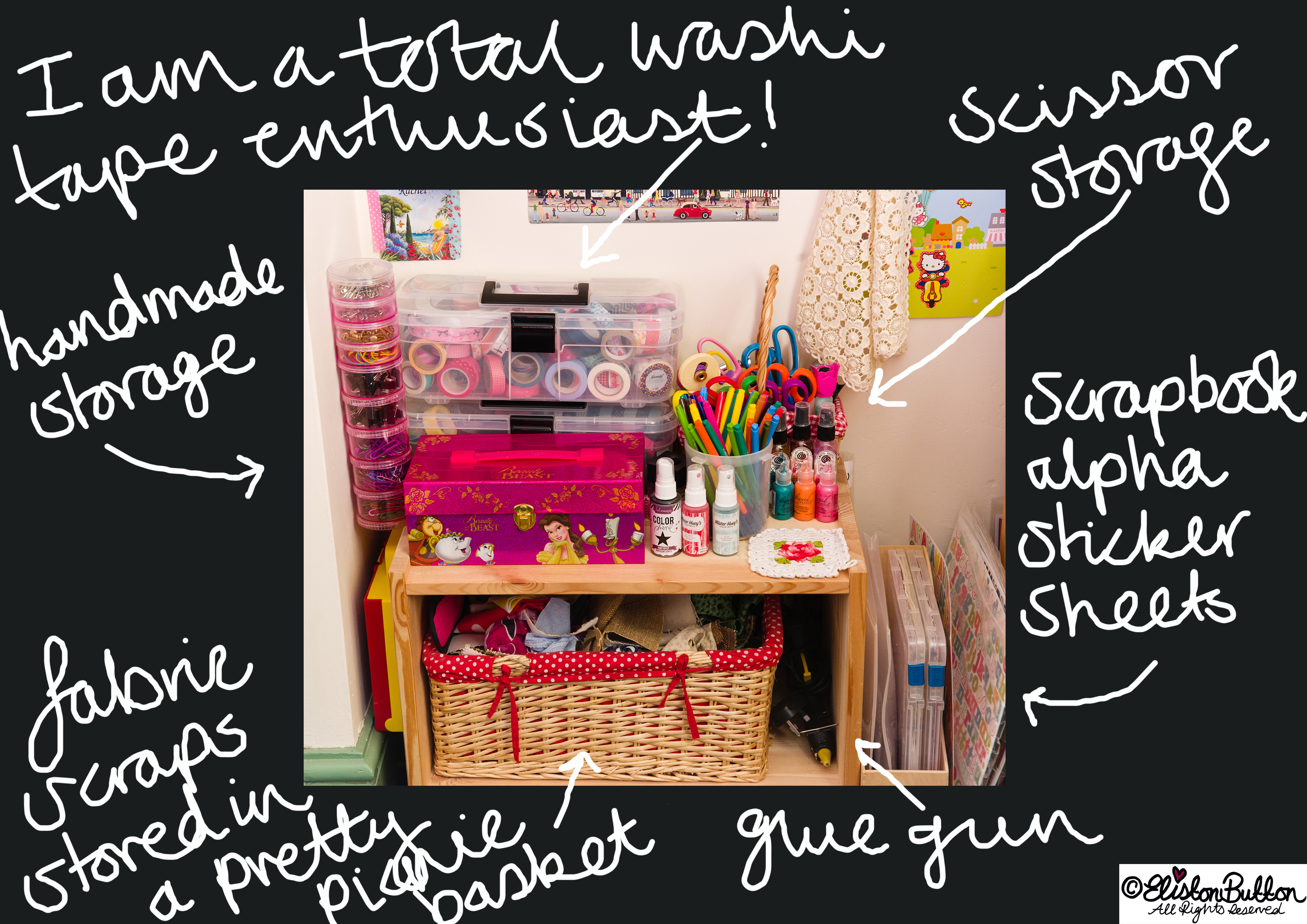 Eliston Button Headquarters 2013 -  Washi Tape and Craft Supply Storage - Where The Magic Happens... at www.elistonbutton.com - Eliston Button - That Crafty Kid – Art, Design, Craft & Adventure.