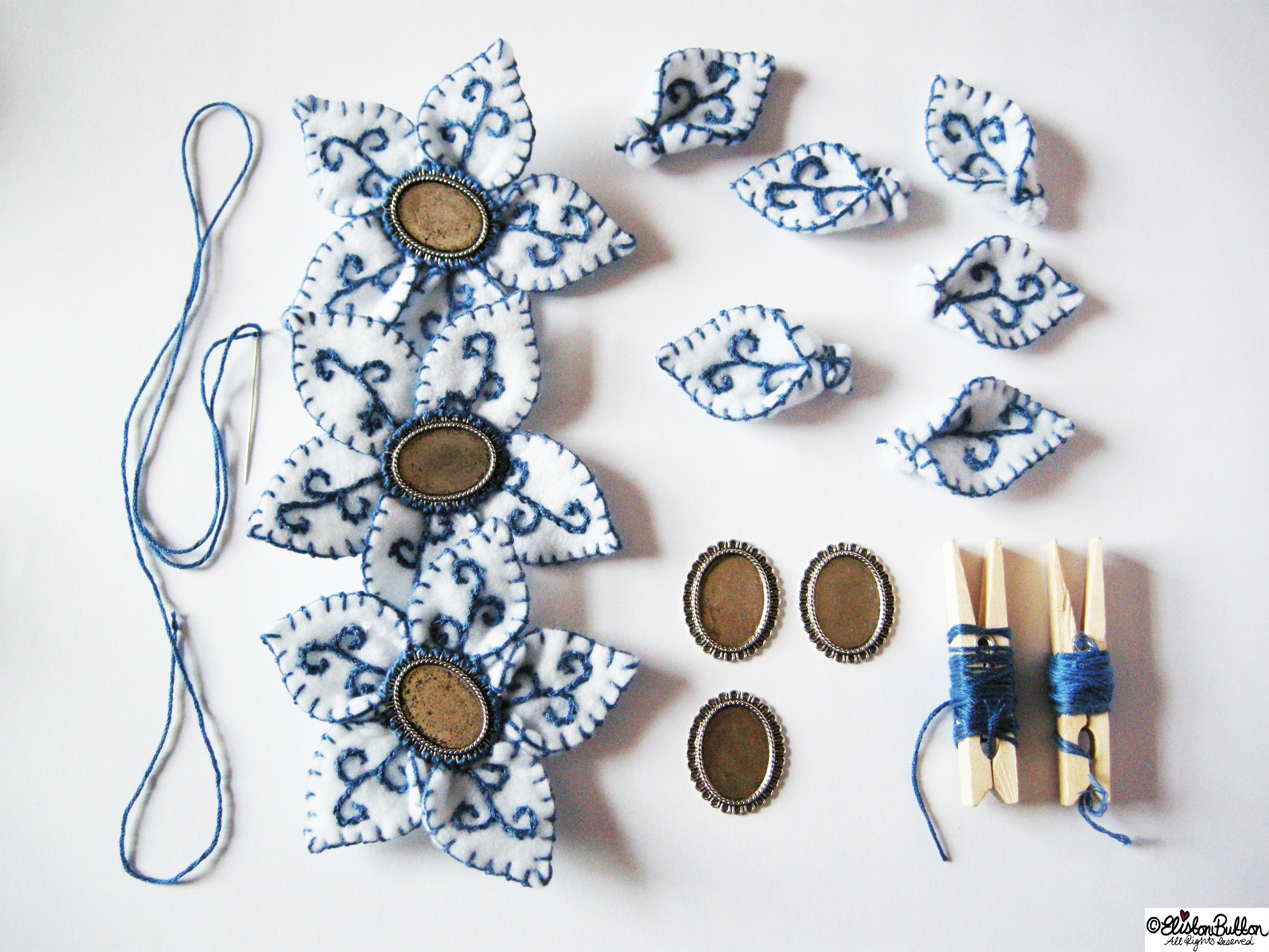 Blue and White Embroidered Felt Flowers with Sewing Bits and Bobs - Workspace Wednesday 'Blue & White' at www.elistonbutton.com - Eliston Button - That Crafty Kid – Art, Design, Craft & Adventure.