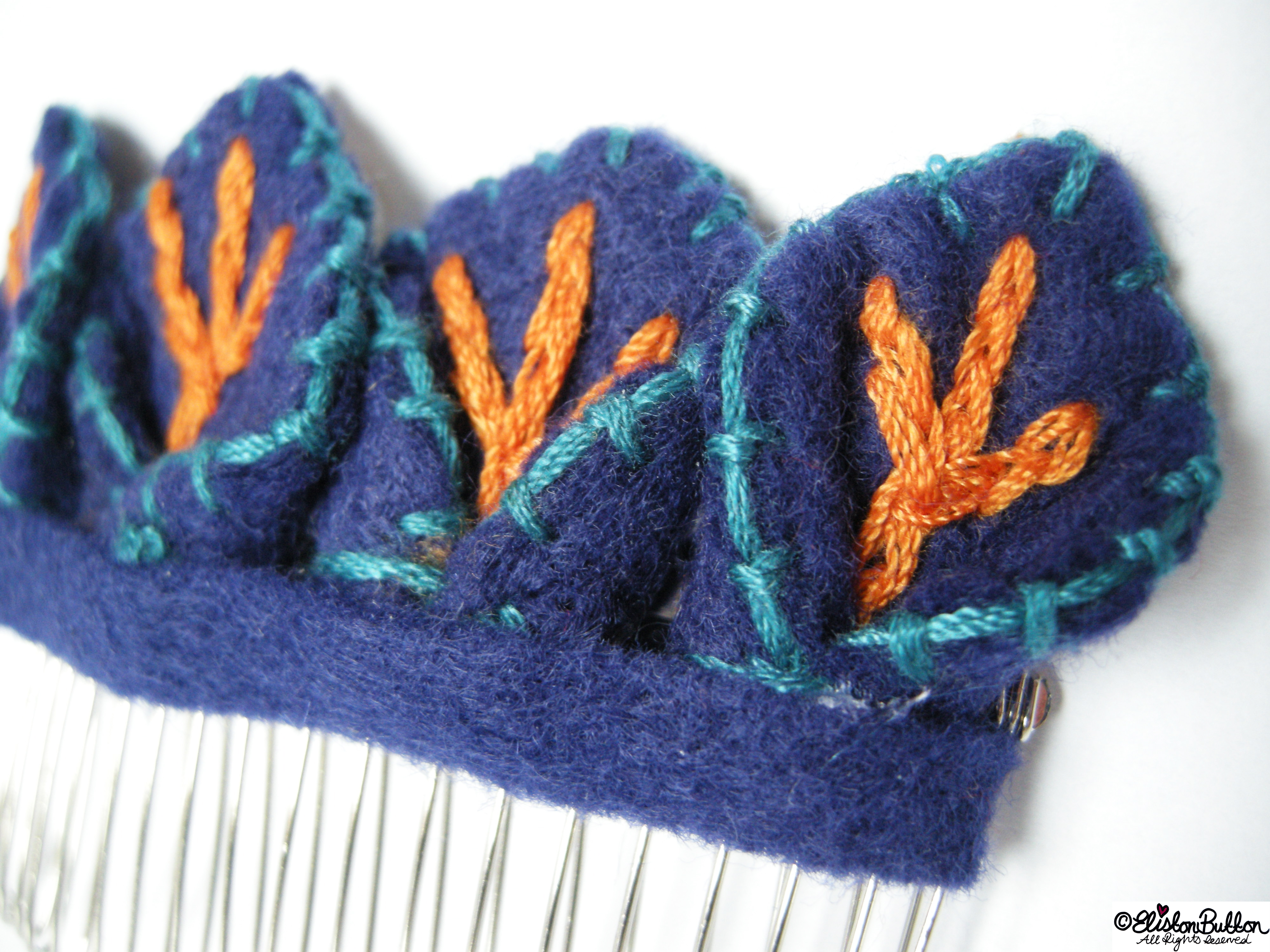 Blue, Orange and Turquoise Embroidered Felt Hair Comb Slide Petal Detail - Workspace Wednesday - Happy Little Petals at www.elistonbutton.com - Eliston Button - That Crafty Kid – Art, Design, Craft & Adventure.