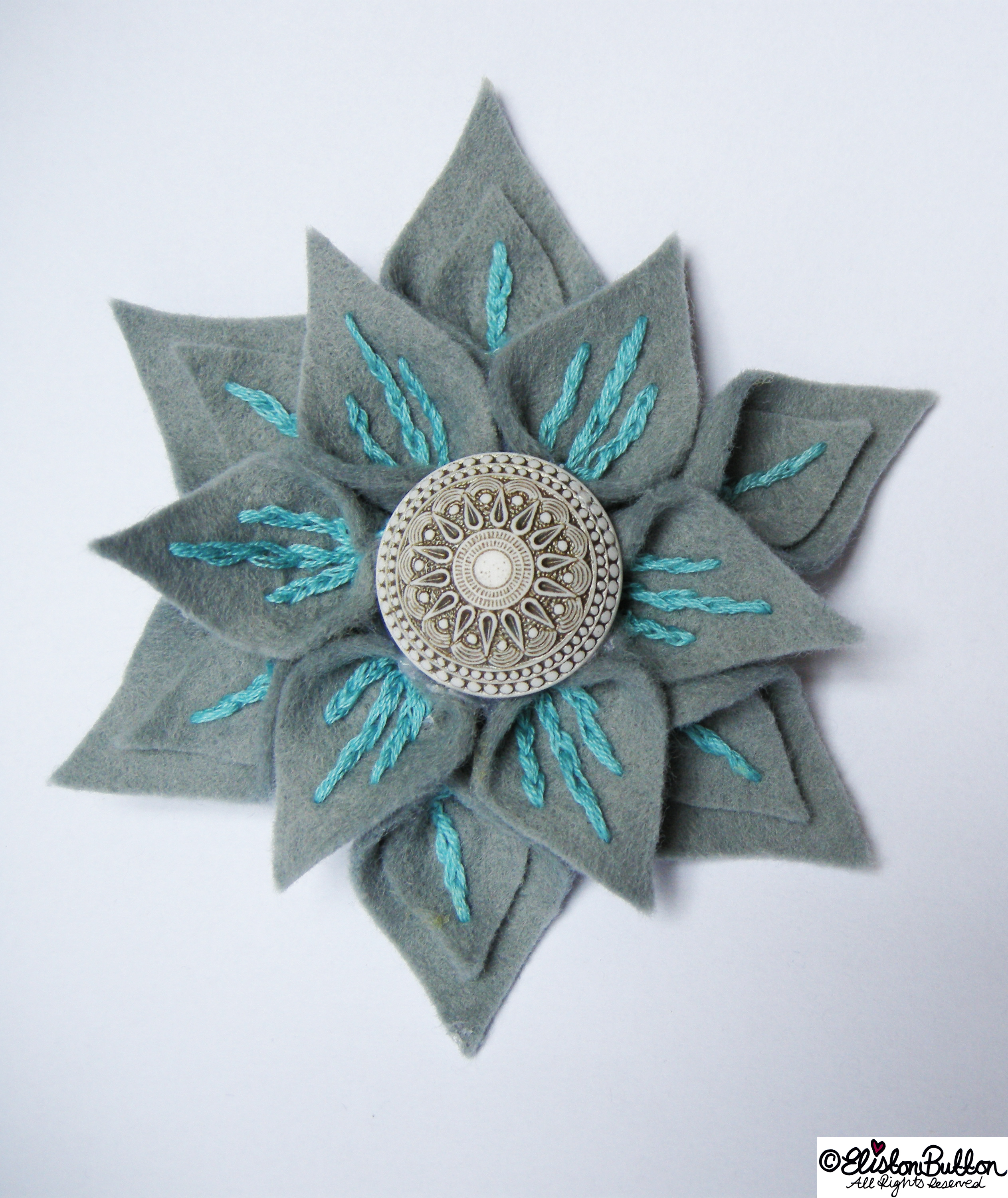 Slate and Seafoam Embroidered Felt Flower Brooch by Eliston Button - 27 Before 27 - Slate and Seafoam at www.elistonbutton.com - Eliston Button - That Crafty Kid – Art, Design, Craft & Adventure.