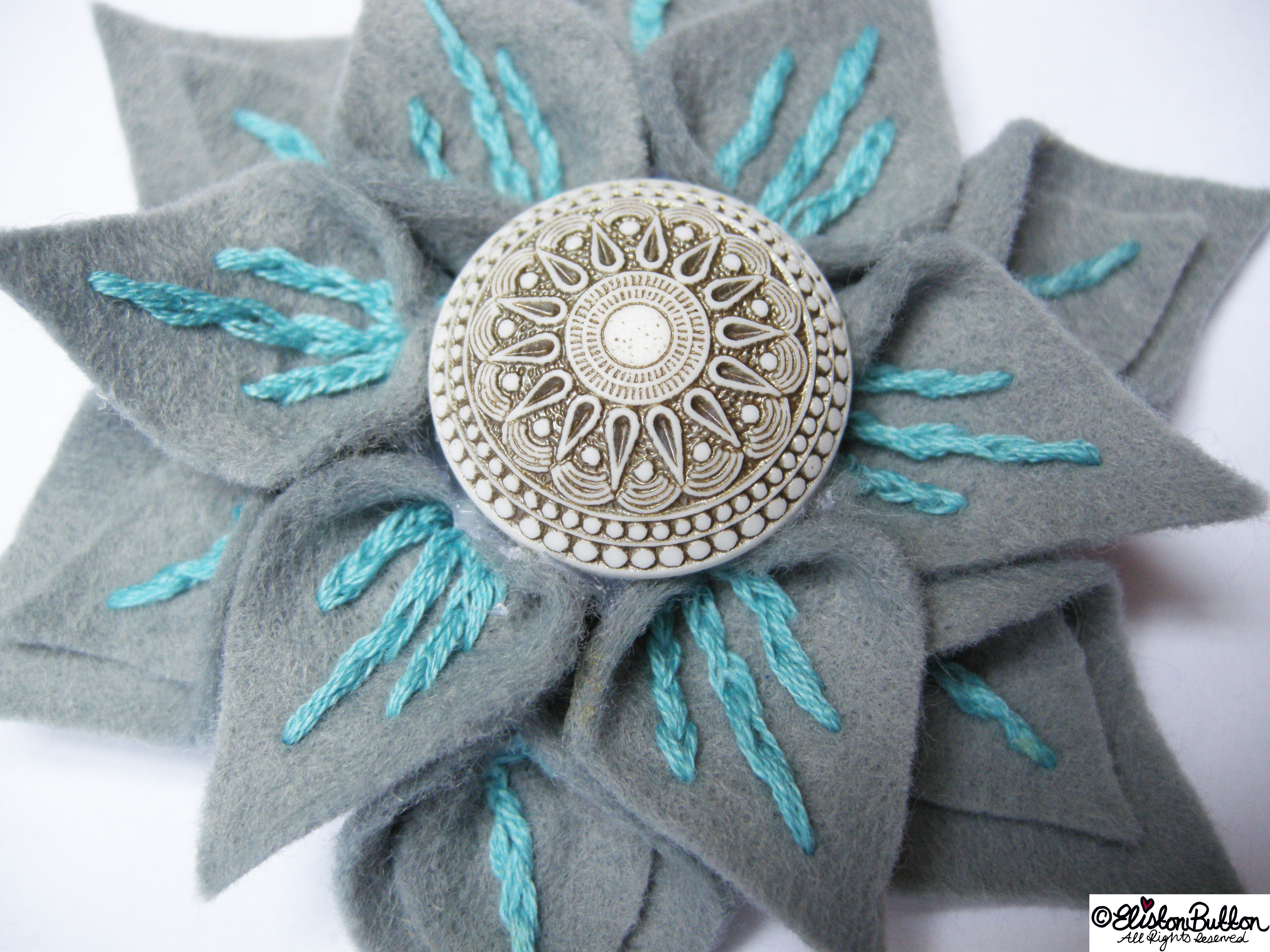 Slate and Seafoam Embroidered Felt Flower Brooch by Eliston Button Up Close - 27 Before 27 - Slate and Seafoam at www.elistonbutton.com - Eliston Button - That Crafty Kid – Art, Design, Craft & Adventure.