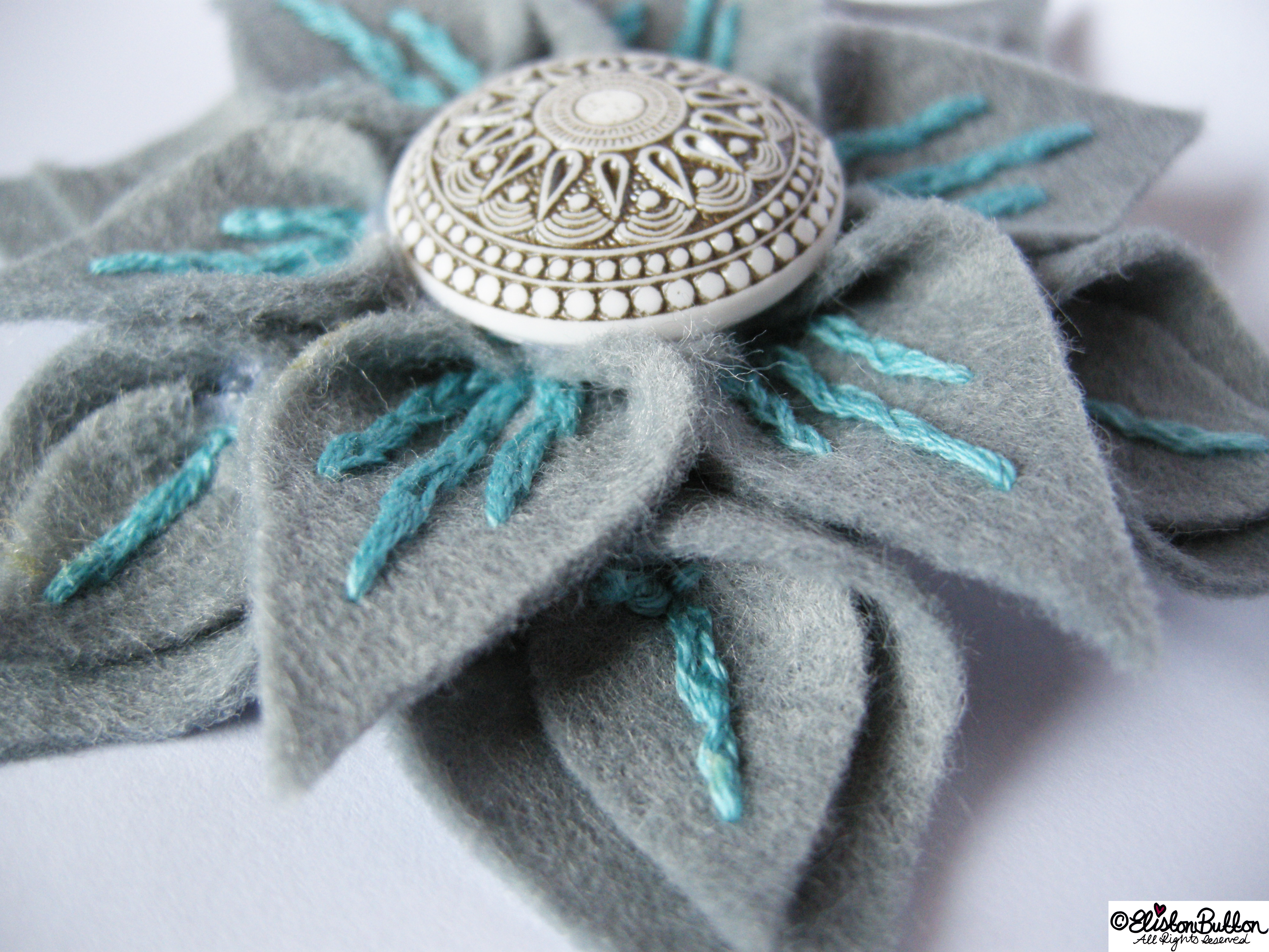 Slate and Seafoam Embroidered Felt Flower Brooch Close Up - 27 Before 27 - Slate and Seafoam at www.elistonbutton.com - Eliston Button - That Crafty Kid – Art, Design, Craft & Adventure.