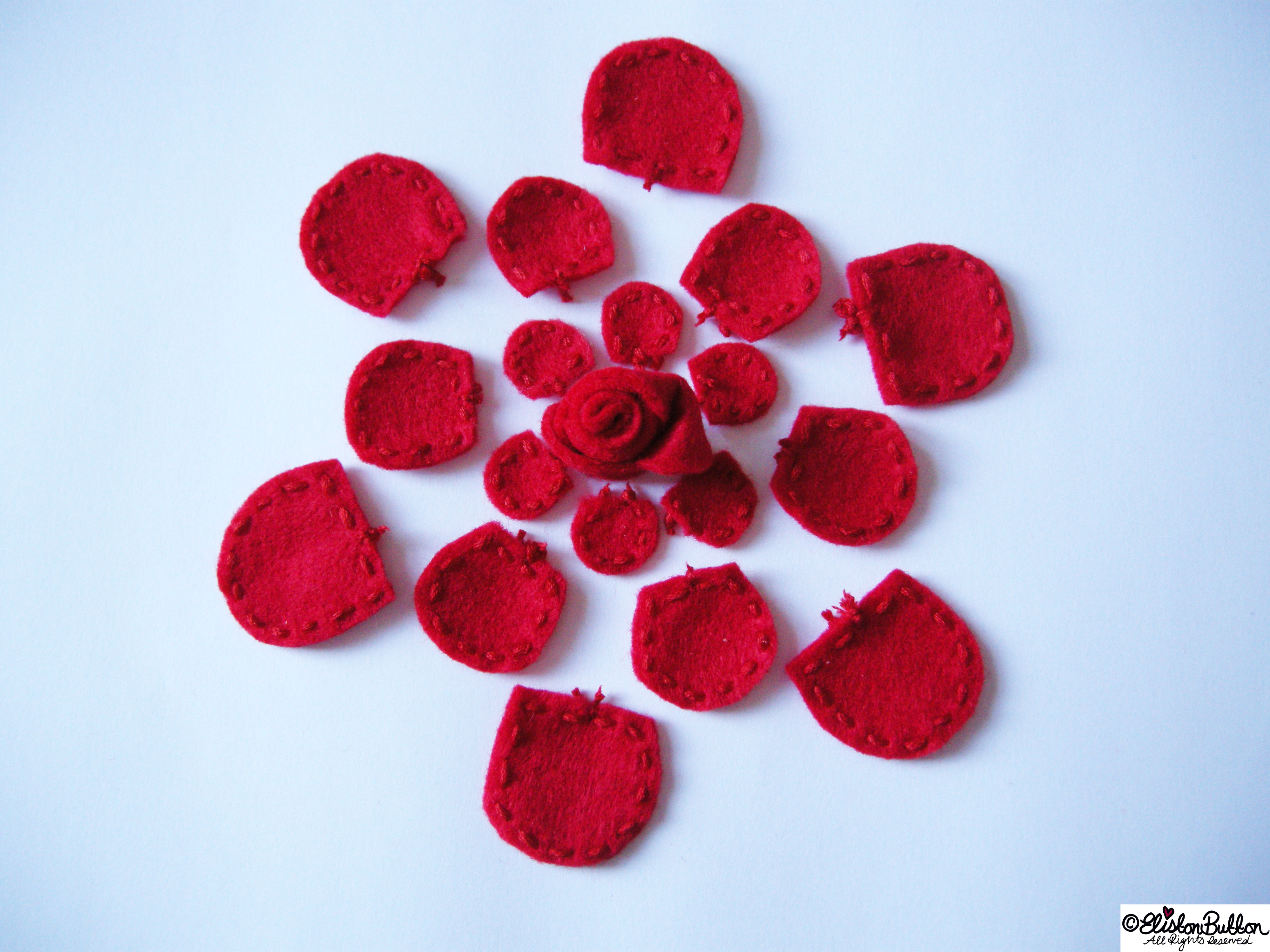 Embroidered Felt Rose Flower - Construction - 27 Before 27 - Roses are Red at www.elistonbutton.com - Eliston Button - That Crafty Kid – Art, Design, Craft & Adventure.