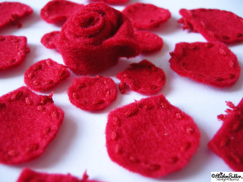 Embroidered Felt Rose Flower - Little Stitched Petals - 27 Before 27 - Roses are Red at www.elistonbutton.com - Eliston Button - That Crafty Kid – Art, Design, Craft & Adventure.