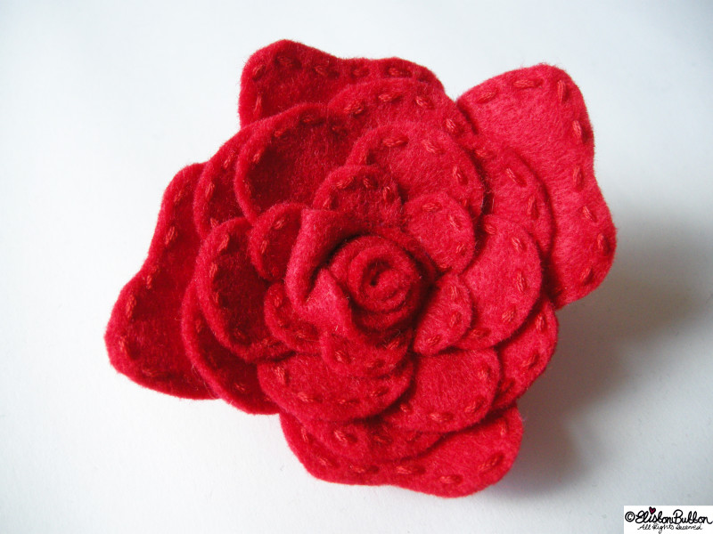 Embroidered Felt Rose Flower - 27 Before 27 - Roses are Red at www.elistonbutton.com - Eliston Button - That Crafty Kid – Art, Design, Craft & Adventure.