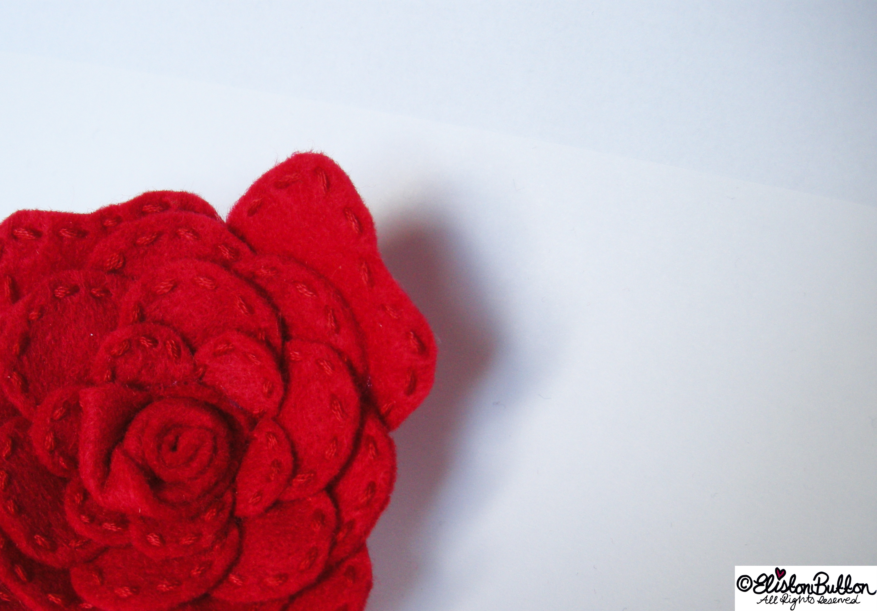 Embroidered Felt Rose Flower - Section - 27 Before 27 - Roses are Red at www.elistonbutton.com - Eliston Button - That Crafty Kid – Art, Design, Craft & Adventure.