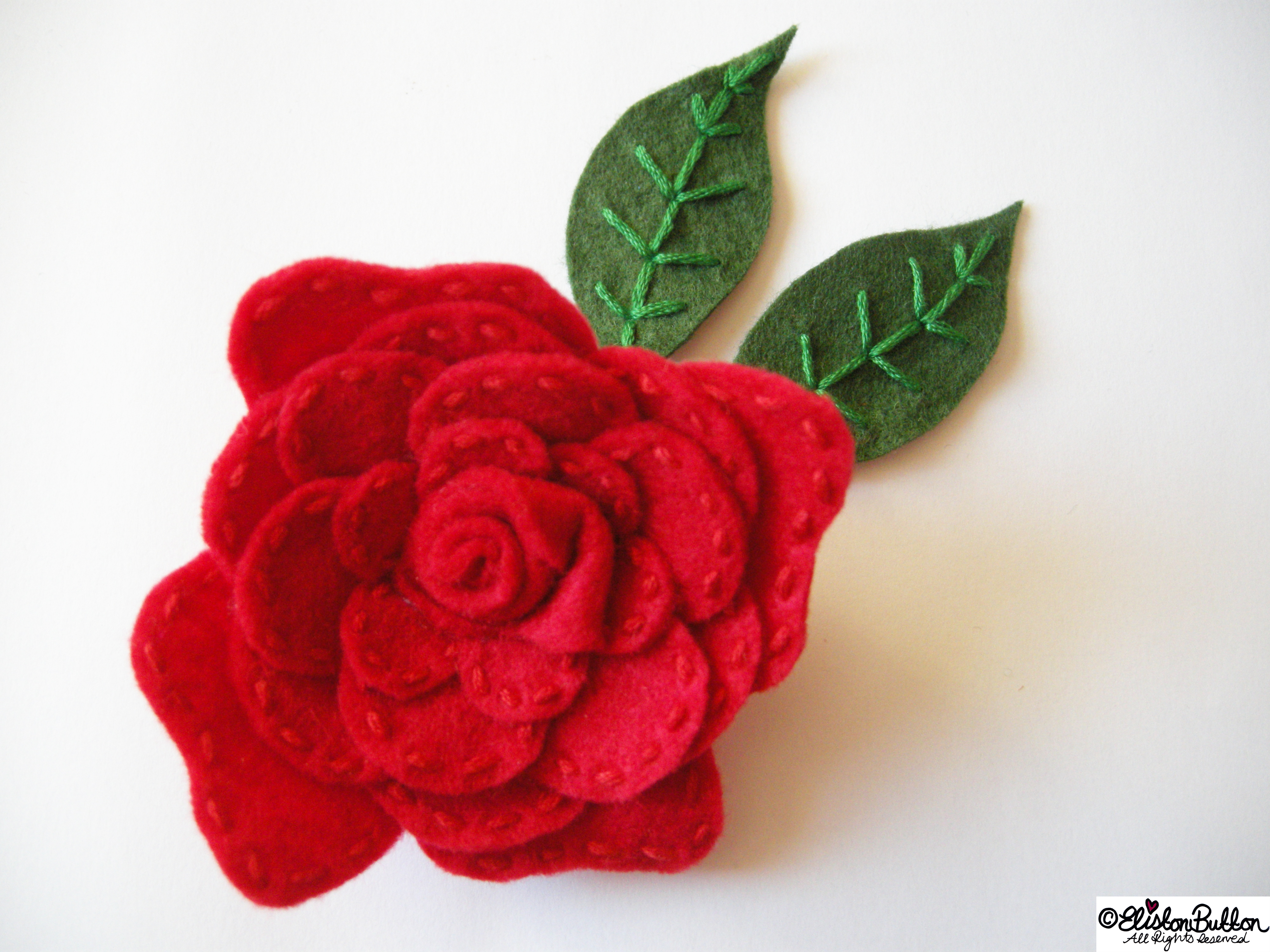 Embroidered Felt Rose Flower - Adding Embroidered Leaves - 27 Before 27 - Roses are Red at www.elistonbutton.com - Eliston Button - That Crafty Kid – Art, Design, Craft & Adventure.
