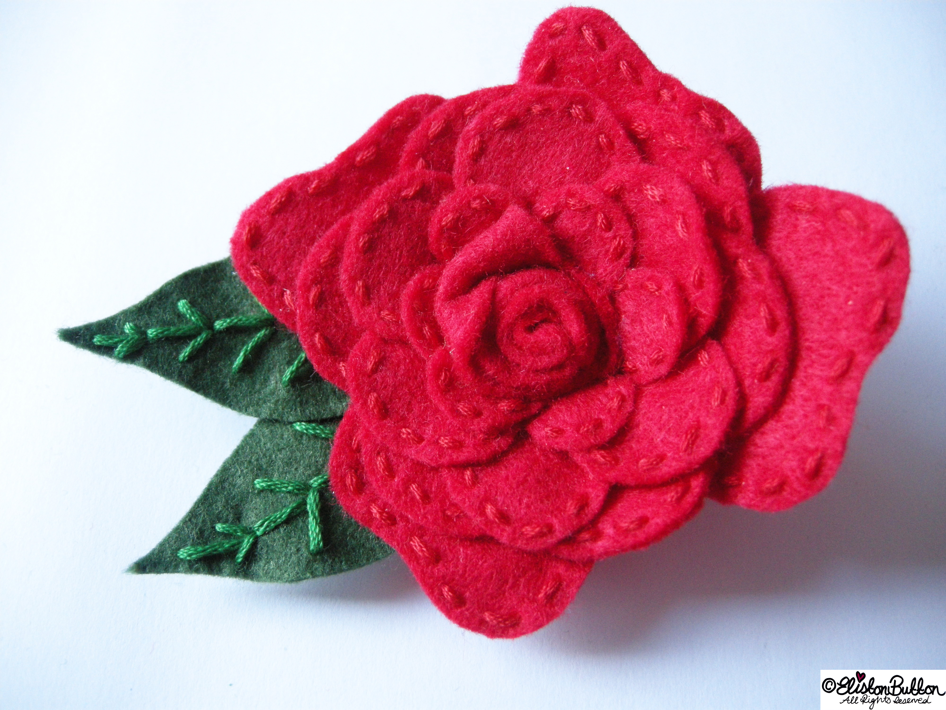 Embroidered Felt Rose Flower Brooch - 27 Before 27 - Roses are Red at www.elistonbutton.com - Eliston Button - That Crafty Kid – Art, Design, Craft & Adventure.
