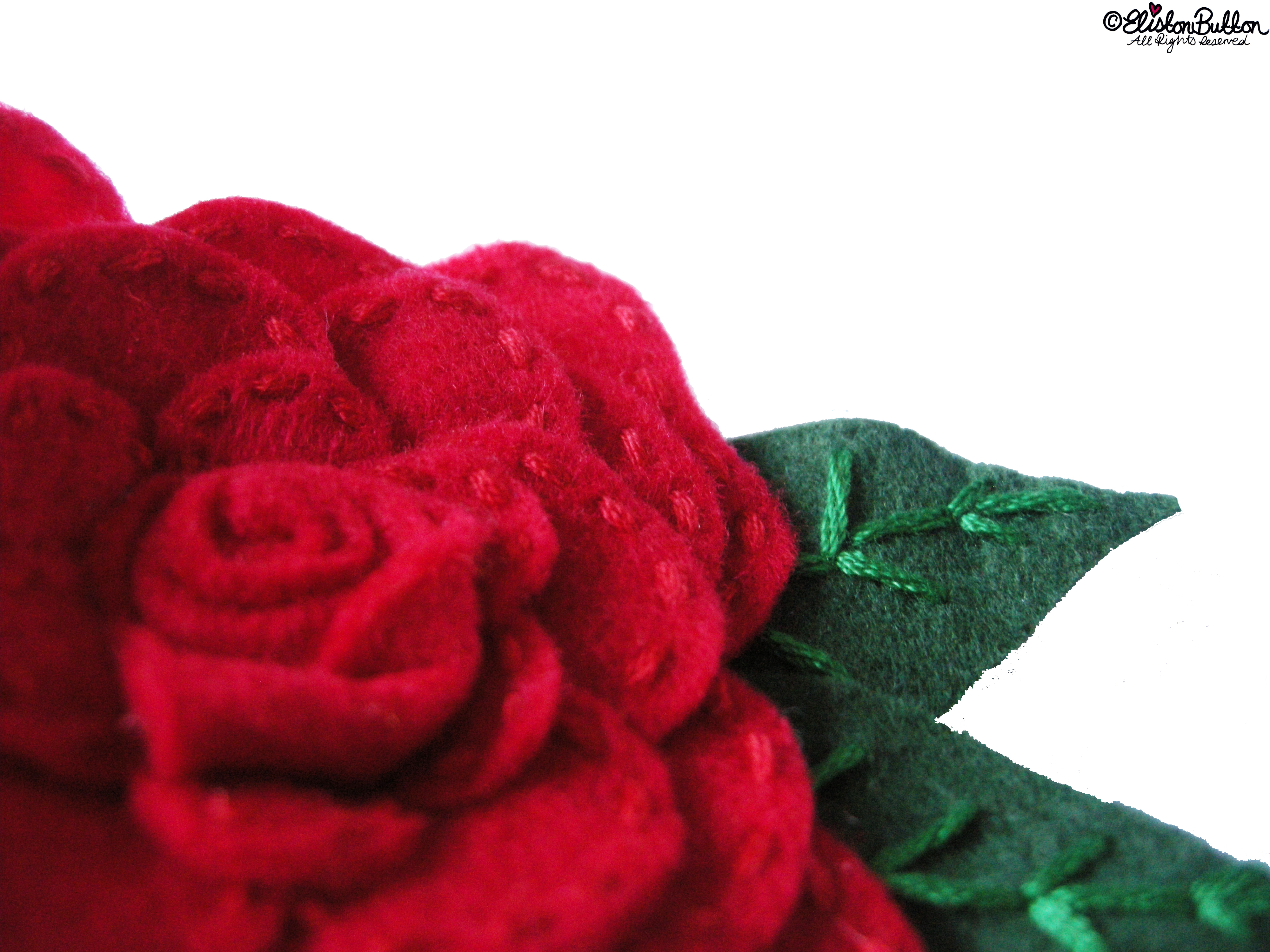 Embroidered Felt Rose Flower - Close Up - 27 Before 27 - Roses are Red at www.elistonbutton.com - Eliston Button - That Crafty Kid – Art, Design, Craft & Adventure.
