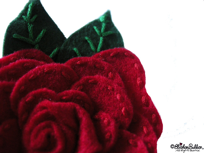 Embroidered Felt Rose Flower - Close Up View - 27 Before 27 - Roses are Red at www.elistonbutton.com - Eliston Button - That Crafty Kid – Art, Design, Craft & Adventure.