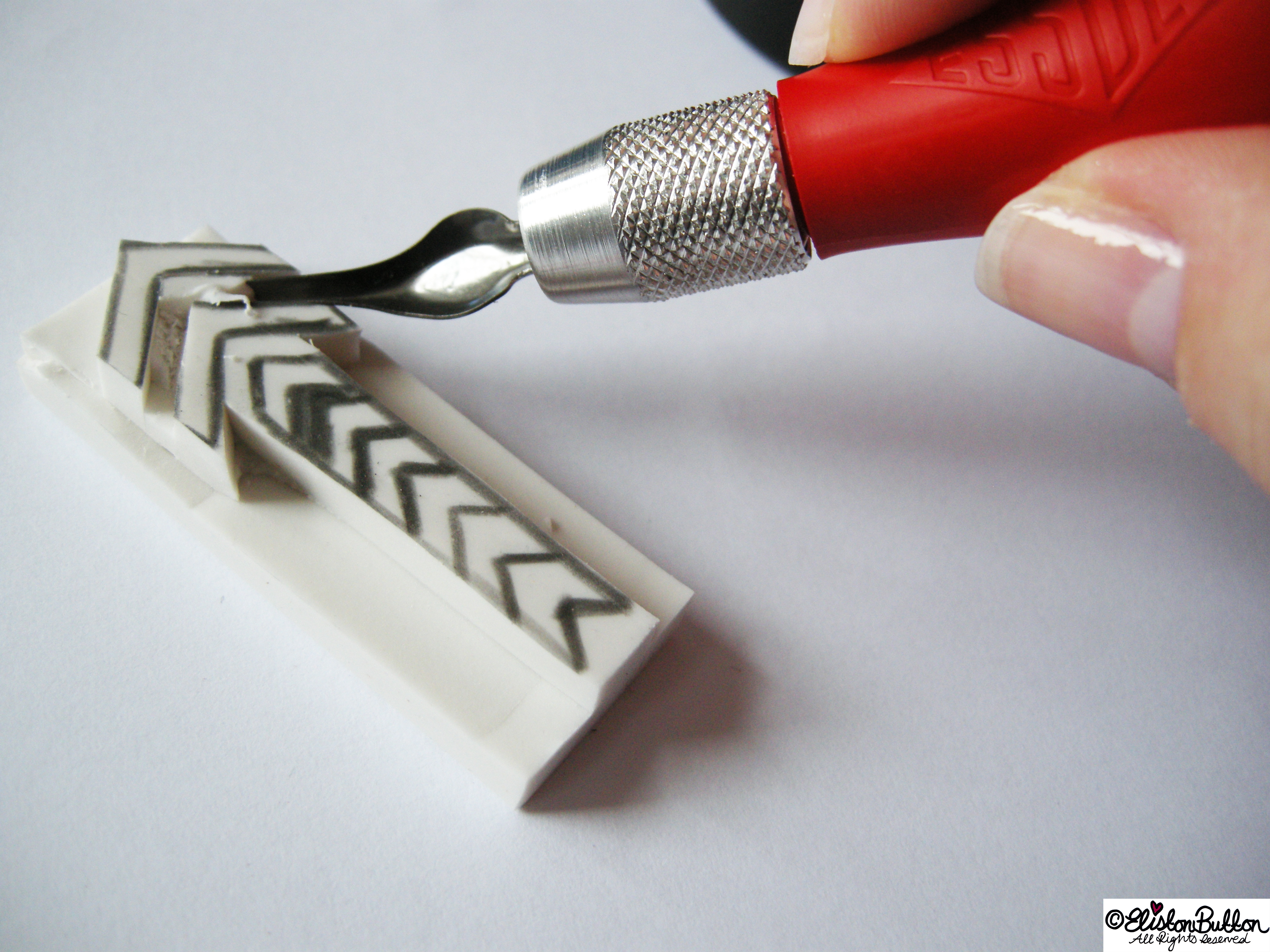 Hand Carving a Chevron Arrow Stamp - Cutting the Rubber - Workspace Wednesday - Hello Handmade Stamps at www.elistonbutton.com - Eliston Button - That Crafty Kid – Art, Design, Craft & Adventure.