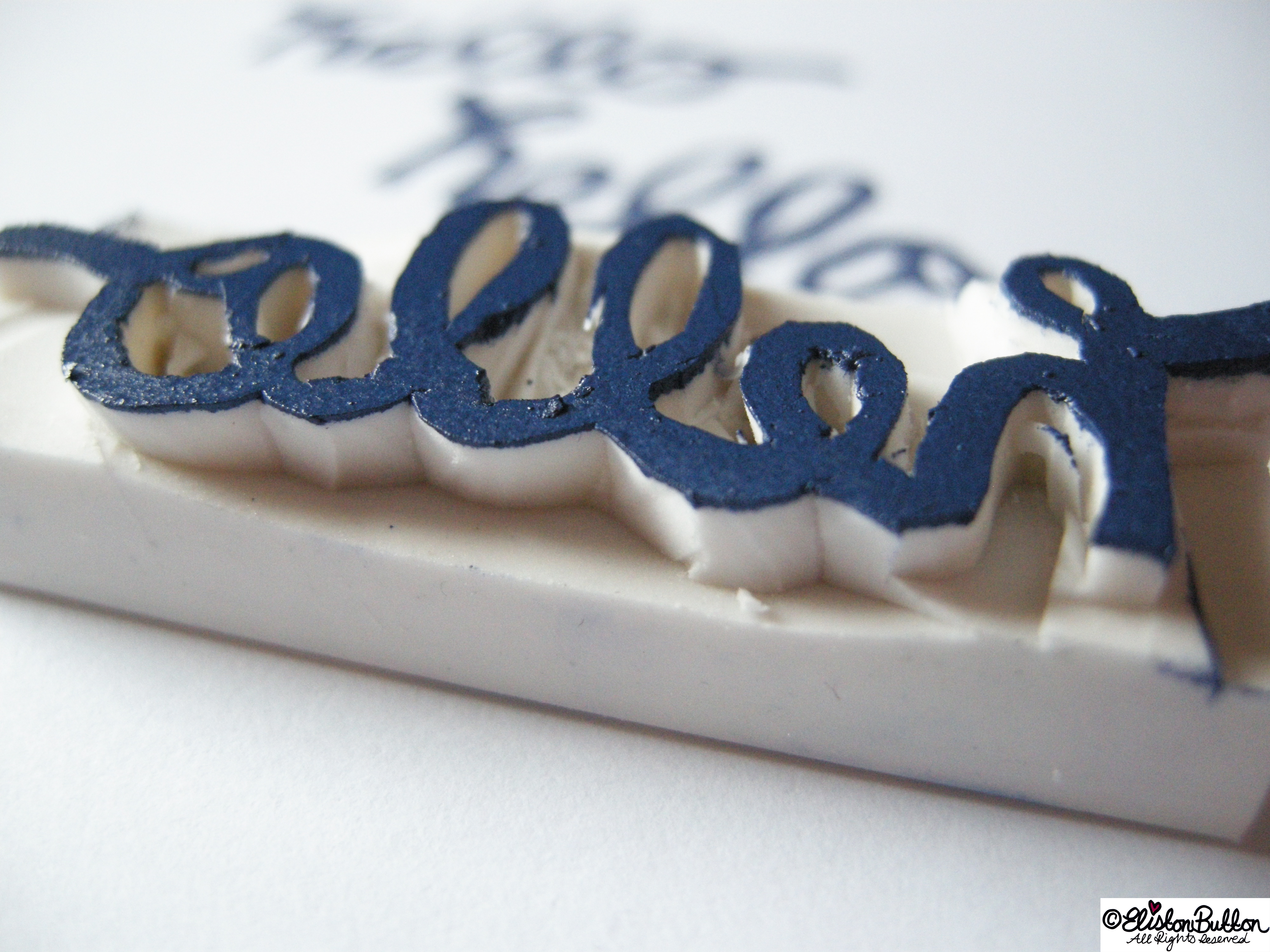 Stamped Hello with Hand Carved Stamp Close Up - Workspace Wednesday - Hello Handmade Stamps at www.elistonbutton.com - Eliston Button - That Crafty Kid – Art, Design, Craft & Adventure.