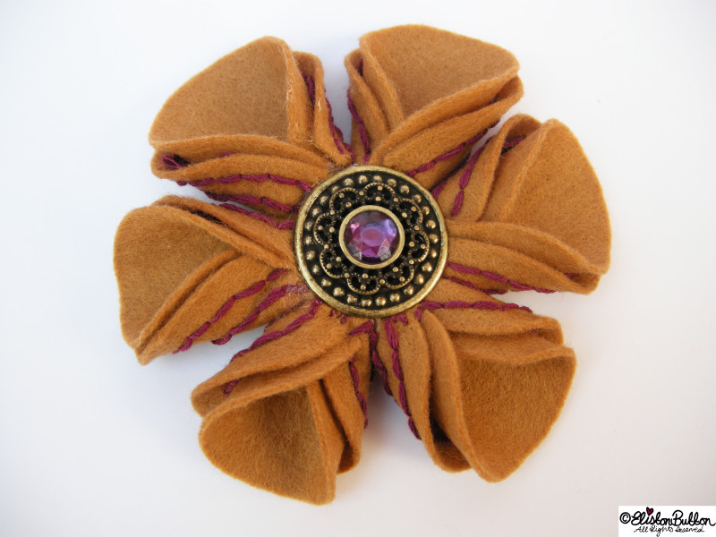 Blackcurrant and Cinnamon Brown and Purple Embroidered Felt Flower Brooch - 27 Before 27 - Blackcurrant and Cinnamon at www.elistonbutton.com - Eliston Button - That Crafty Kid – Art, Design, Craft & Adventure.