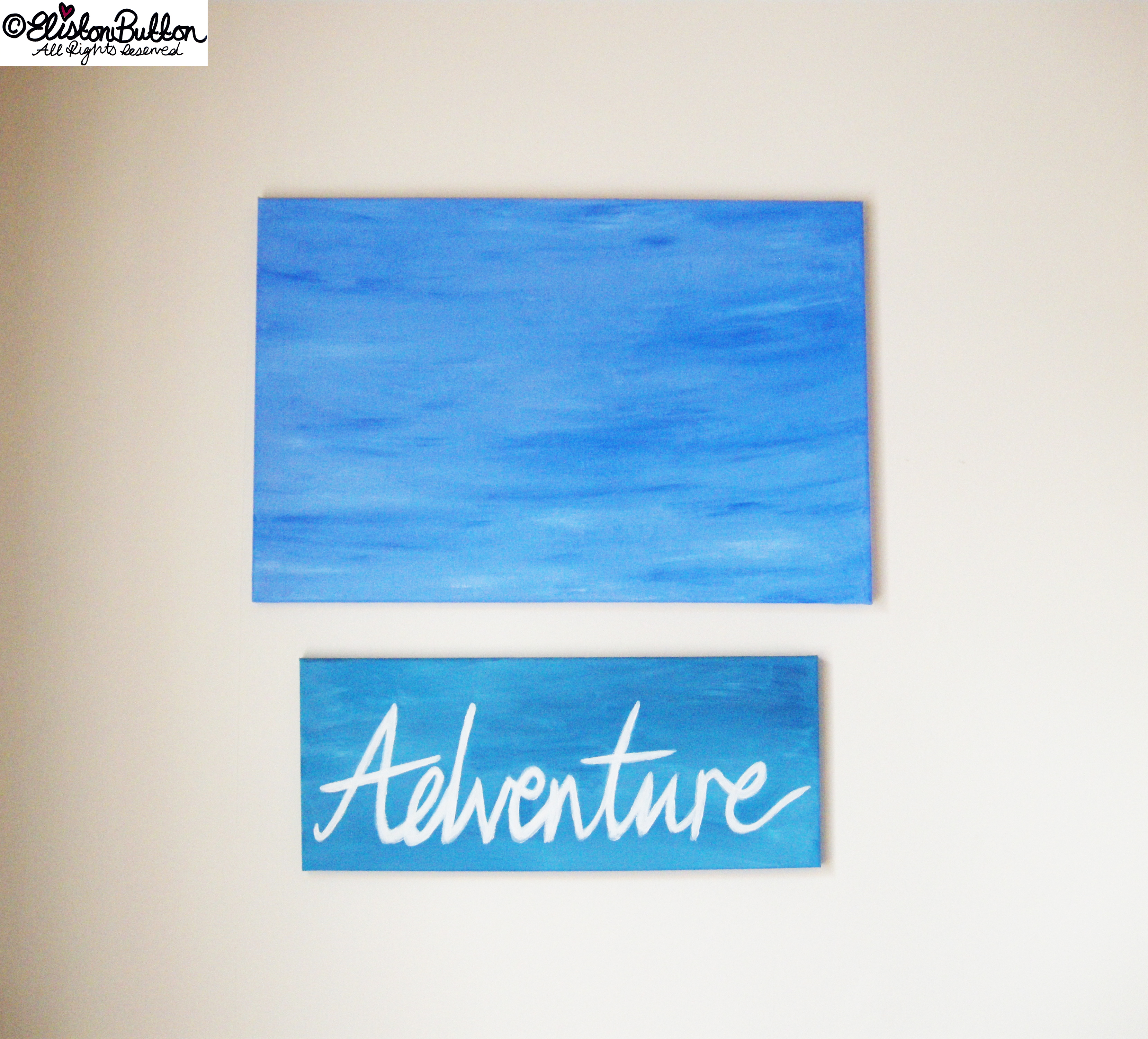 Acrylic Painted Blue Hues on Canvases - Hand Lettered Adventure - Always Adventure at www.elistonbutton.com - Eliston Button - That Crafty Kid – Art, Design, Craft & Adventure.