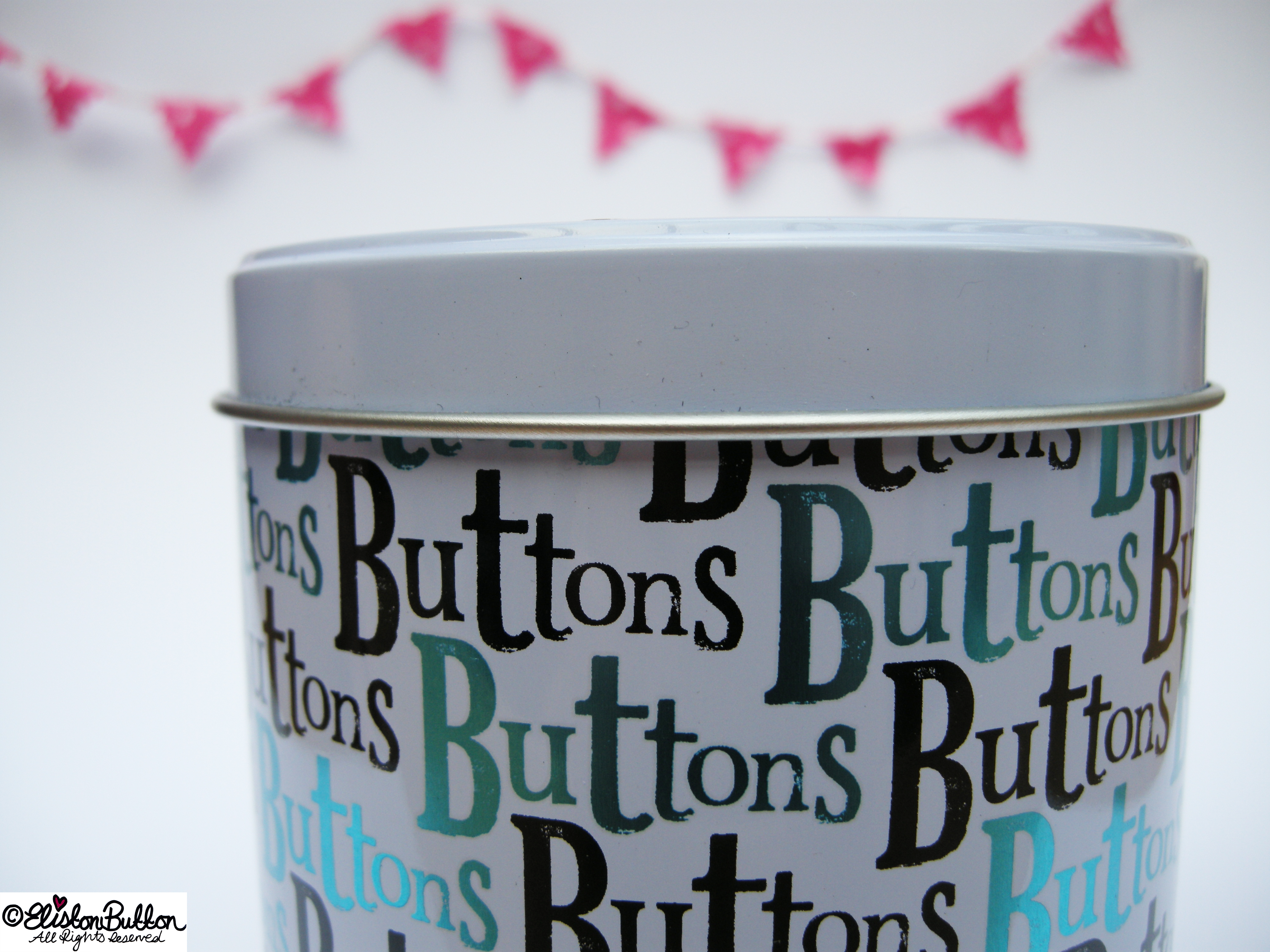 Don't Worry Mr Button I Will Save You Button Tin by The Bright Side Close Up - Don't Worry Mr Button I Will Save You at www.elistonbutton.com - Eliston Button - That Crafty Kid – Art, Design, Craft & Adventure.