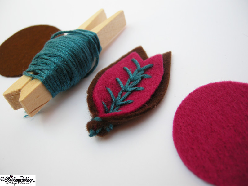 Wheat Ear Stitch Sample on Felt Petals - Teal Version - 27 Before 27 - Raspberry and Chocolate at www.elistonbutton.com - Eliston Button - That Crafty Kid – Art, Design, Craft & Adventure.