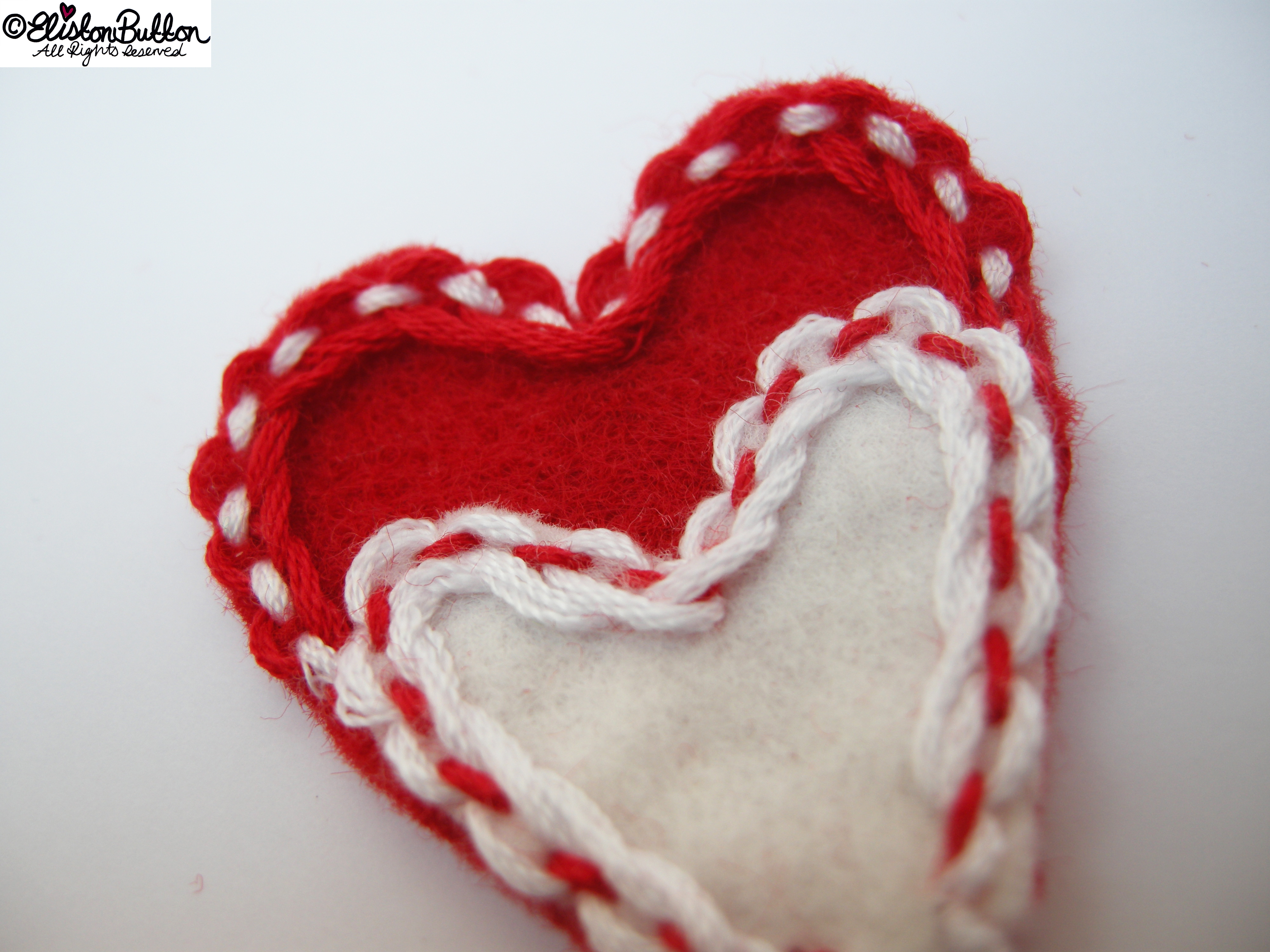 Whimsical Lace-Like Embroidery Stitches on Red and White Felt - 27 Before 27 - Hello Lover... at www.elistonbutton.com - Eliston Button - That Crafty Kid – Art, Design, Craft & Adventure.