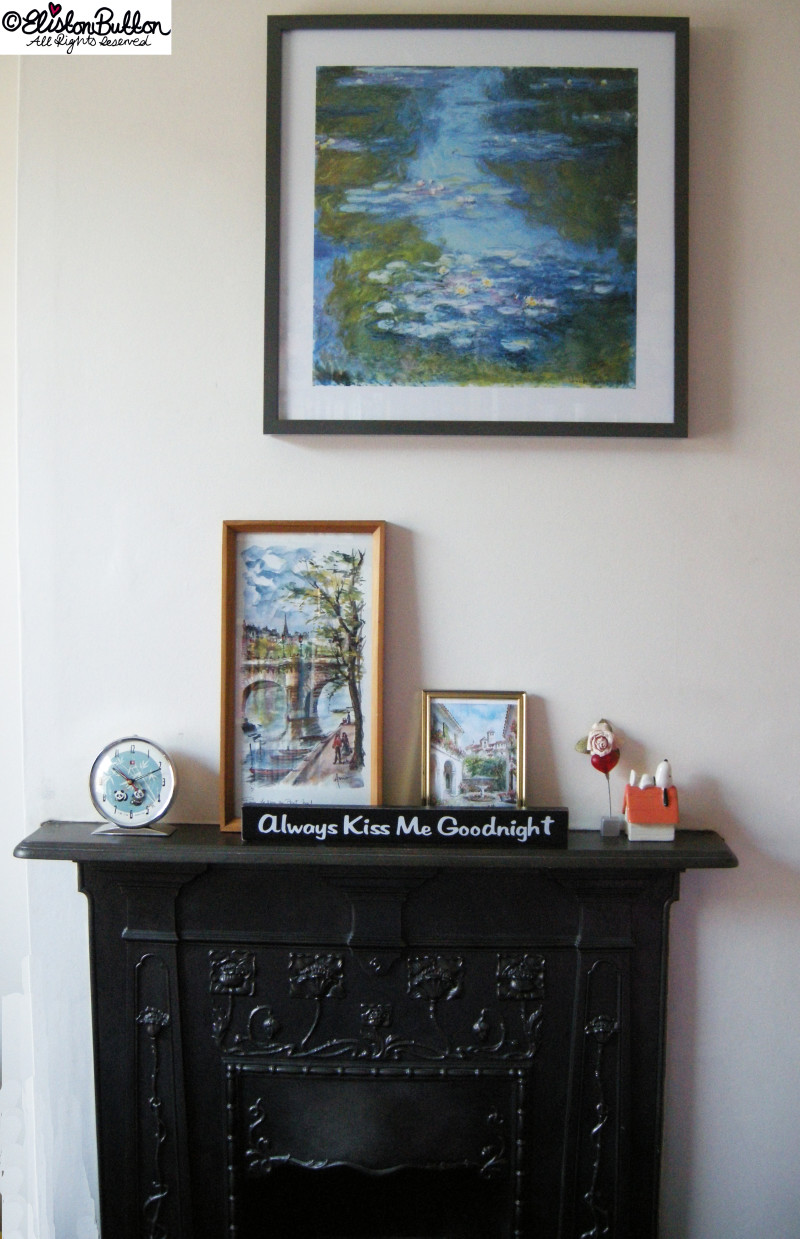 Victorian Fireplace, Art and Trinkets - Workspace Wednesday - Bedroom Makeover at www.elistonbutton.com - Eliston Button - That Crafty Kid – Art, Design, Craft & Adventure.