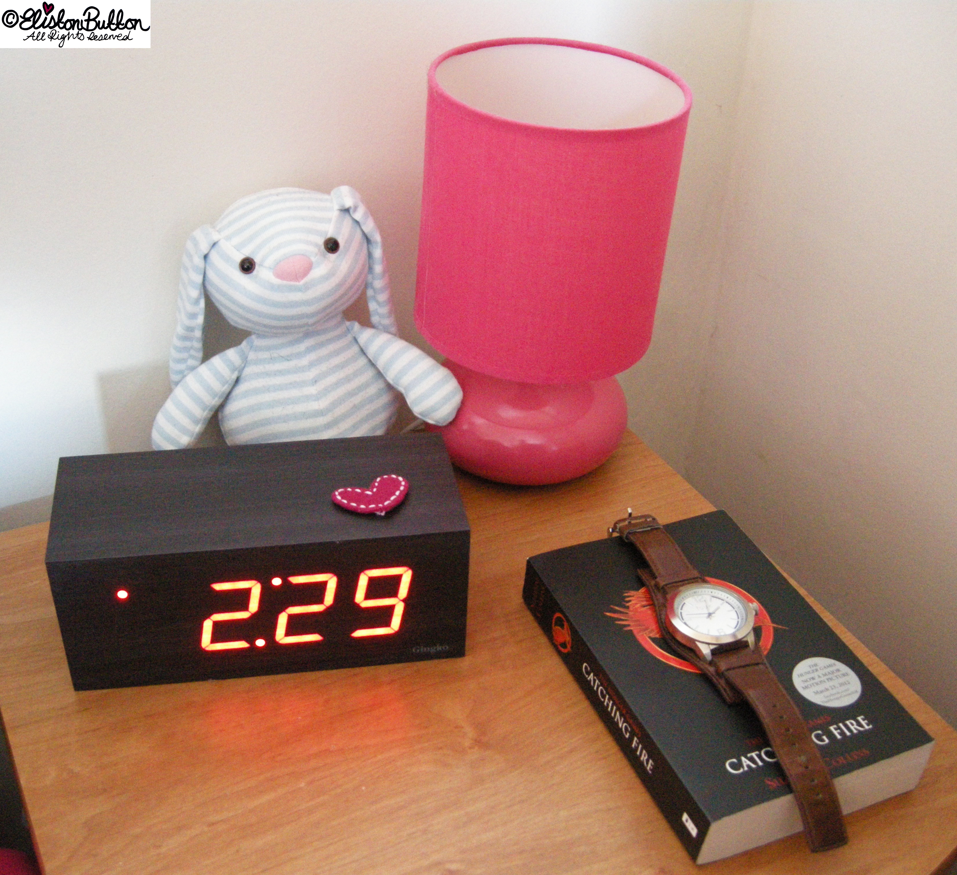 Block Alarm CLock, Lamp and Book - Bedside Table - Workspace Wednesday - Bedroom Makeover at www.elistonbutton.com - Eliston Button - That Crafty Kid – Art, Design, Craft & Adventure.