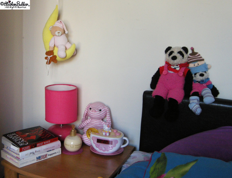 Panda Bears, Hello Kitty Alarm Clock and Books on a Bedside Table - Workspace Wednesday - Bedroom Makeover at www.elistonbutton.com - Eliston Button - That Crafty Kid – Art, Design, Craft & Adventure.