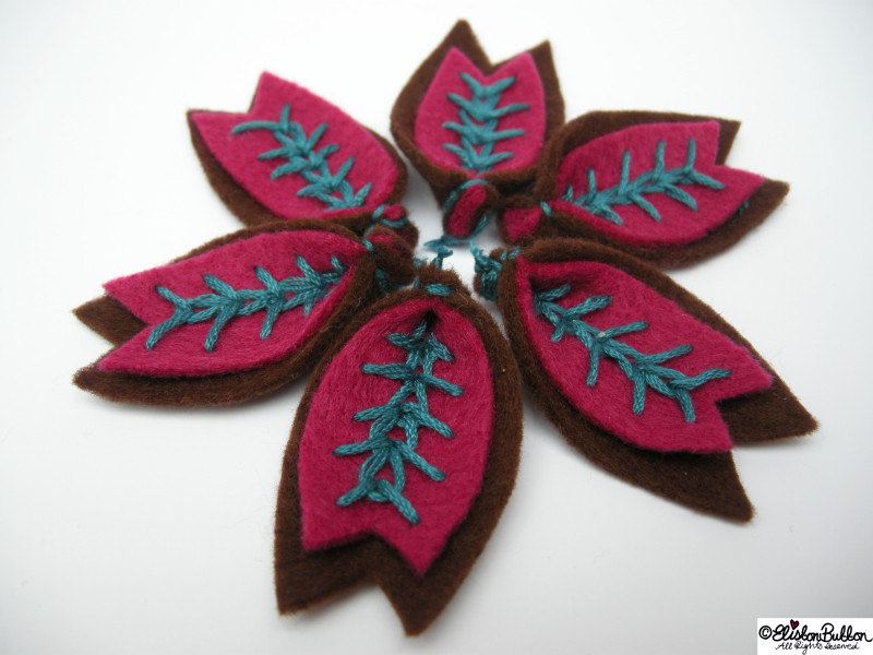 Raspberry and Chocolate Embroidered Teal Felt Petals - 27 Before 27 - Raspberry and Chocolate at www.elistonbutton.com - Eliston Button - That Crafty Kid – Art, Design, Craft & Adventure.