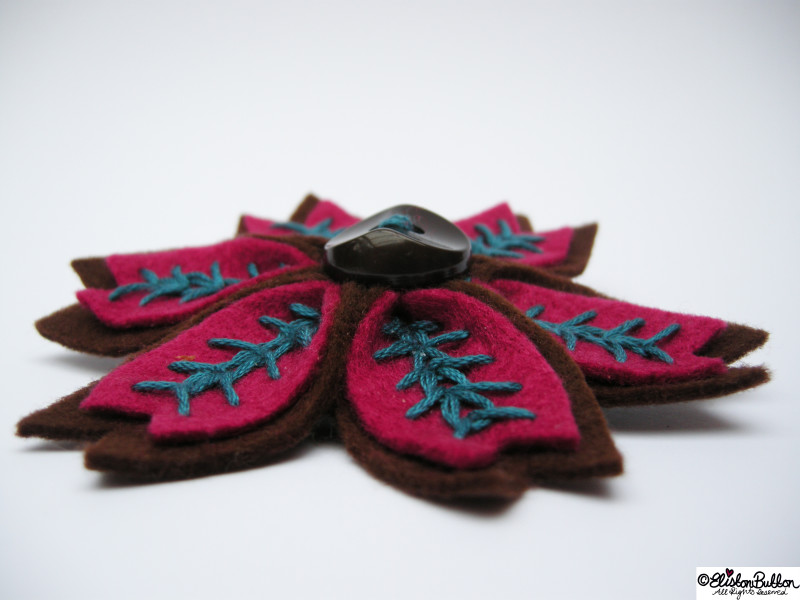 Raspberry and Chocolate Embroidered Felt Flower Brooch - Side View - 27 Before 27 - Raspberry and Chocolate at www.elistonbutton.com - Eliston Button - That Crafty Kid – Art, Design, Craft & Adventure.