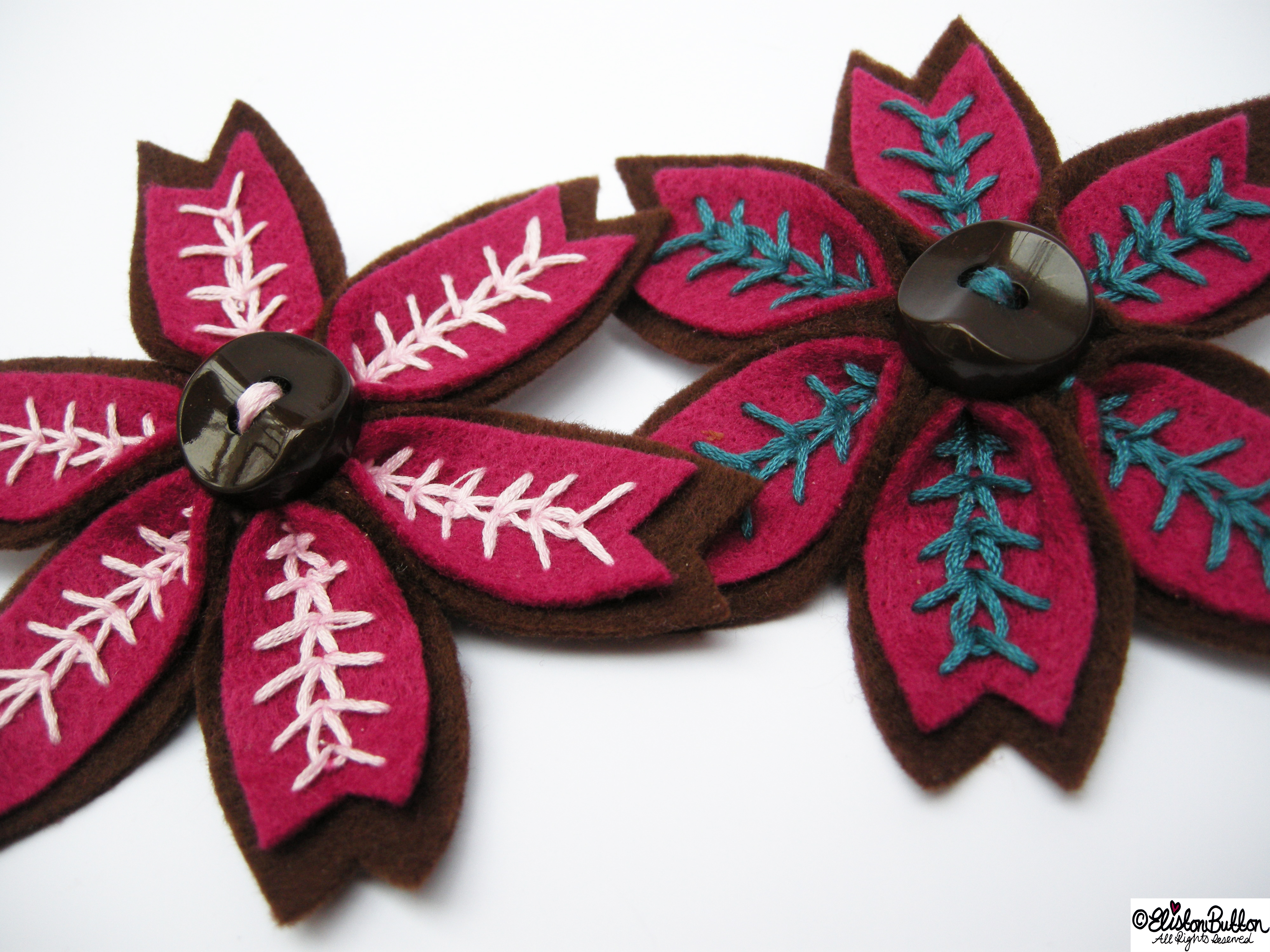 Raspberry and Chocolate Embroidered Felt Flower Brooches - Teal and Pastel Pink - 27 Before 27 - Raspberry and Chocolate at www.elistonbutton.com - Eliston Button - That Crafty Kid – Art, Design, Craft & Adventure.