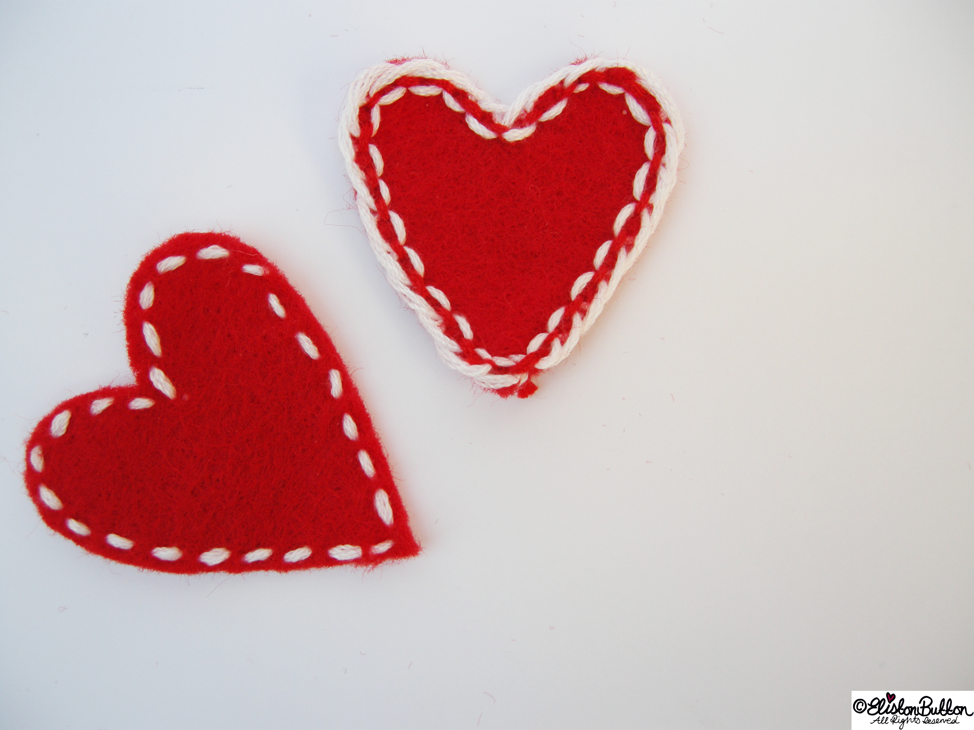 Hand Embroidered Felt Hearts - Workspace Wednesday - I Give You My Heart at www.elistonbutton.com - Eliston Button - That Crafty Kid – Art, Design, Craft & Adventure.