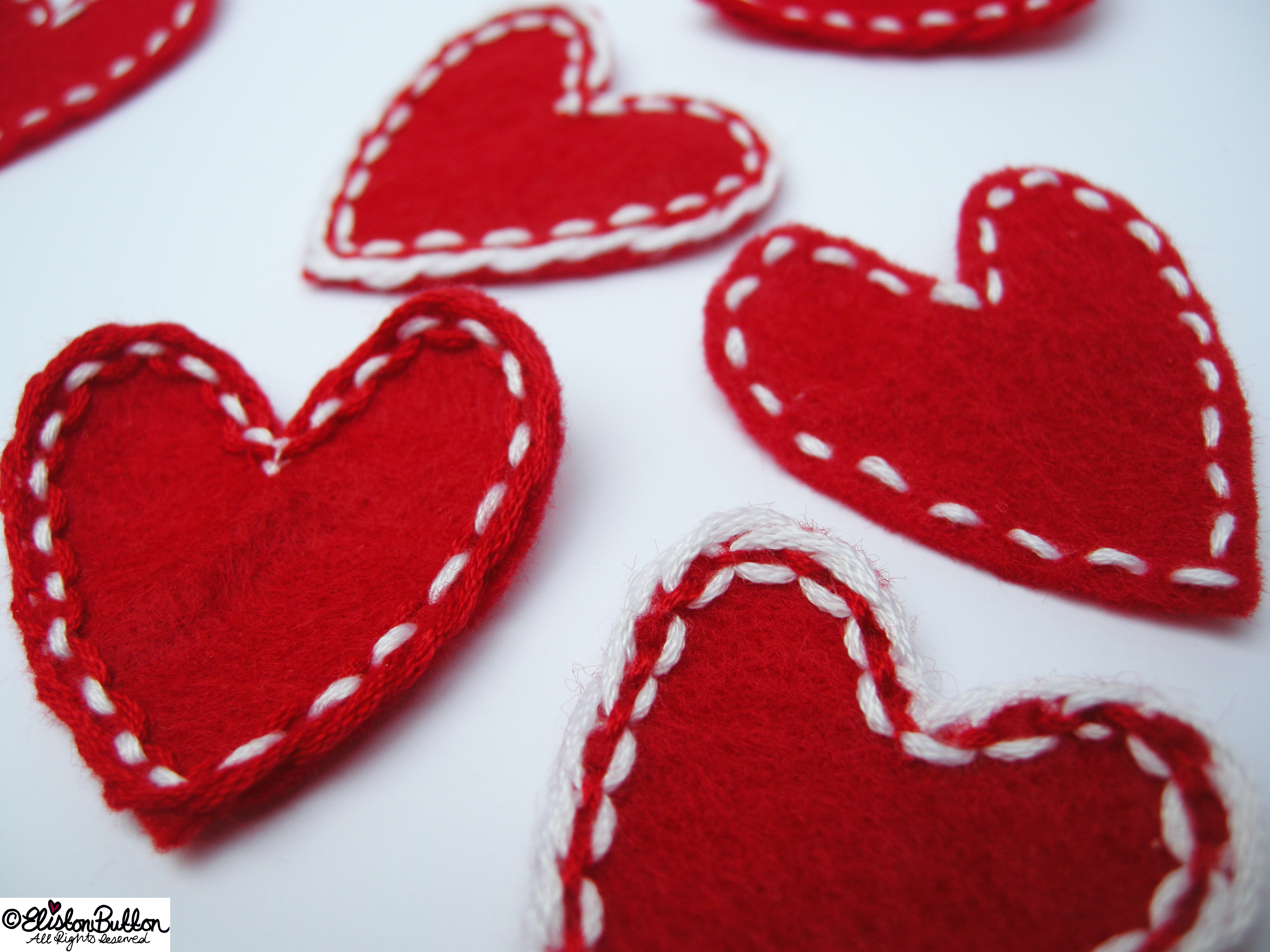 Embroidered Felt Heart Shapes Close Up - Workspace Wednesday - I Give You My Heart at www.elistonbutton.com - Eliston Button - That Crafty Kid – Art, Design, Craft & Adventure.