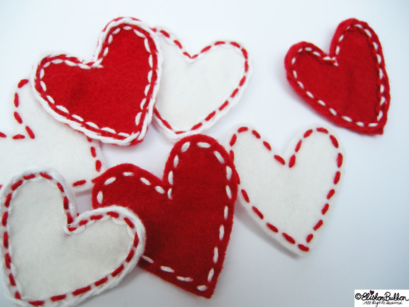 Embroidered Felt Heart Shapes - Workspace Wednesday - I Give You My Heart at www.elistonbutton.com - Eliston Button - That Crafty Kid – Art, Design, Craft & Adventure.