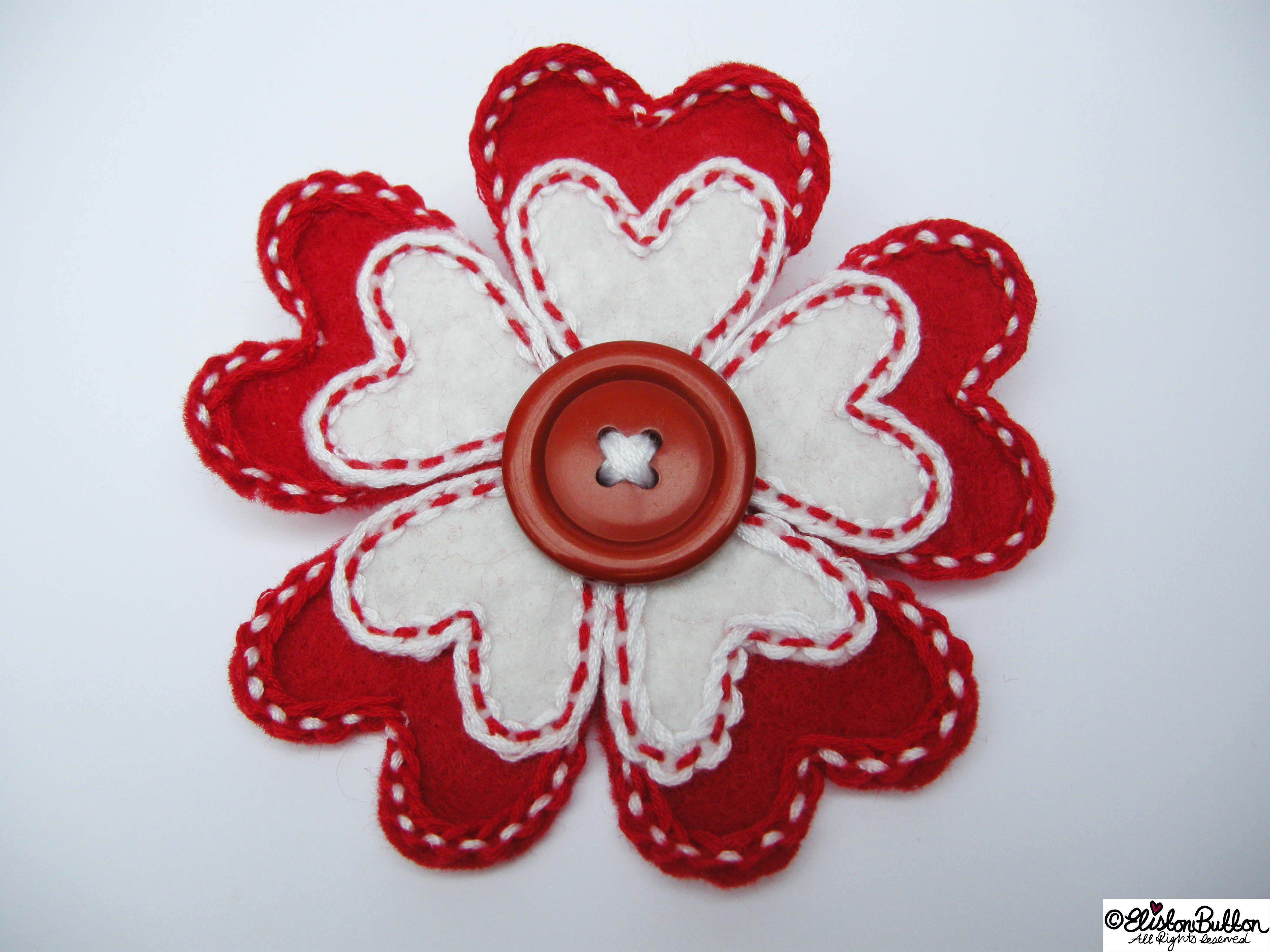 Hello Lover Red and White Embroidered Felt Heart Petal Flower Brooch - 27 Before 27 - Hello Lover... at www.elistonbutton.com - Eliston Button - That Crafty Kid – Art, Design, Craft & Adventure.