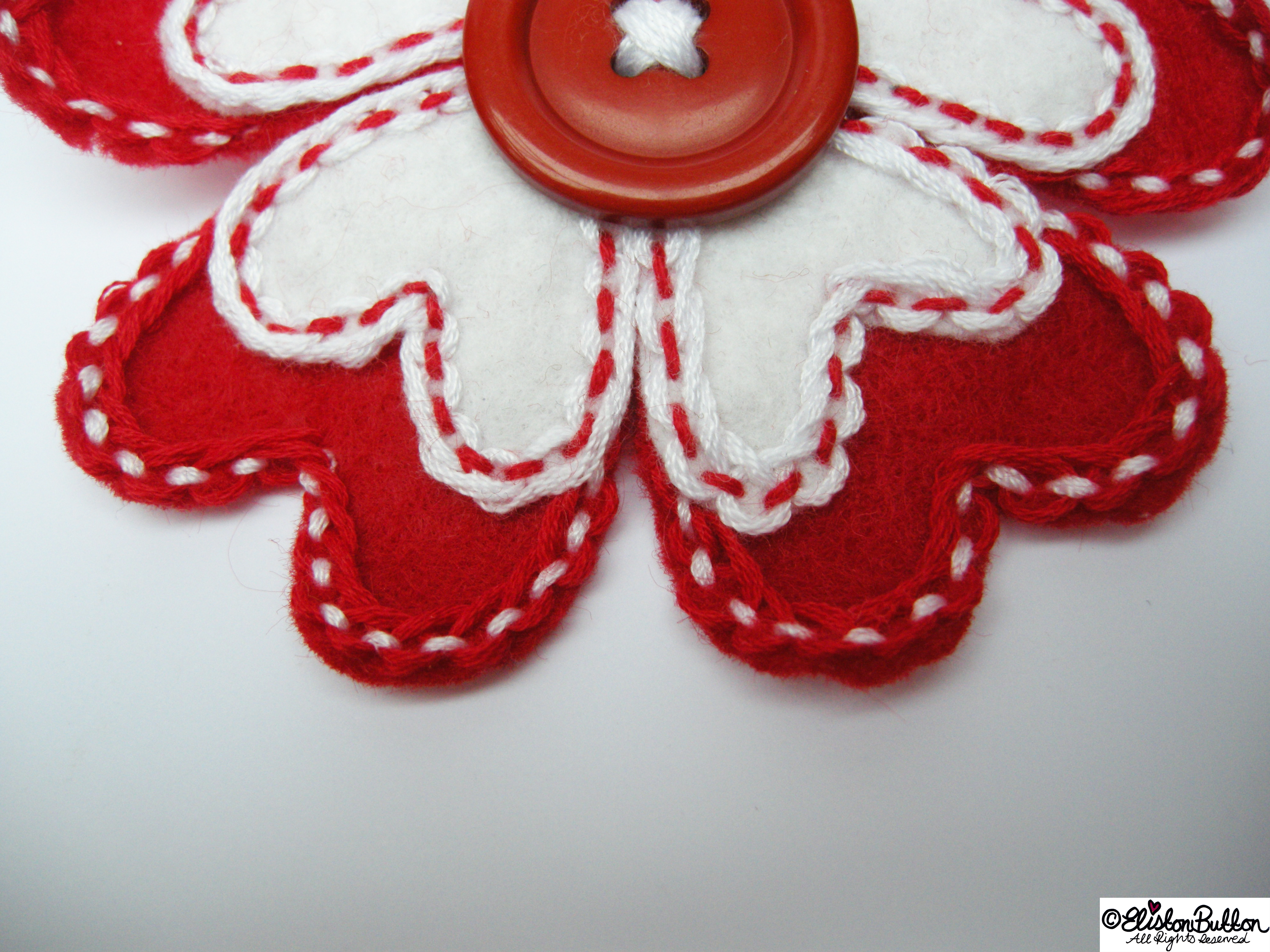 Hello Lover Red and White Embroidered Felt Heart Petal Flower Brooch - Close Up - 27 Before 27 - Hello Lover... at www.elistonbutton.com - Eliston Button - That Crafty Kid – Art, Design, Craft & Adventure.