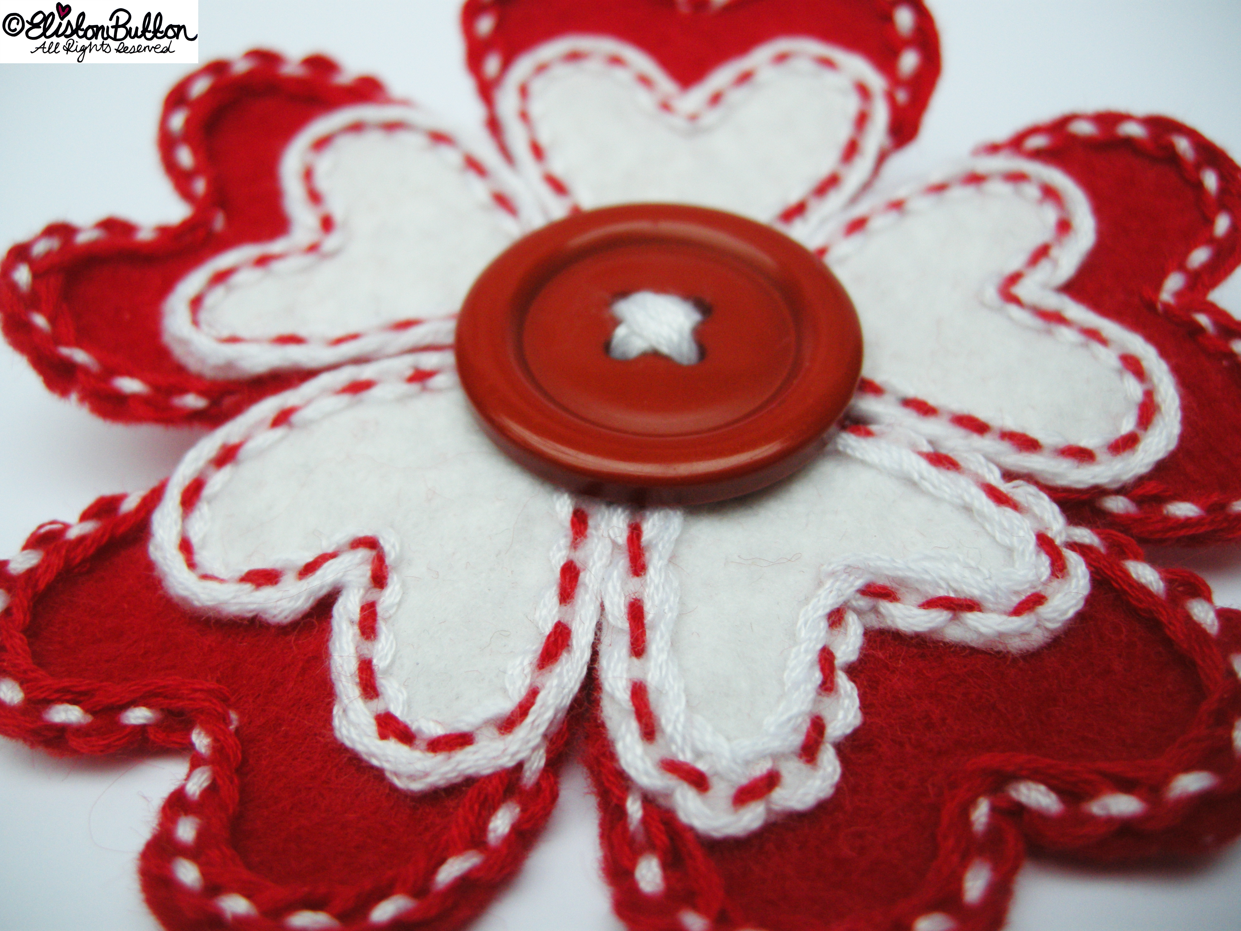 Hello Lover Red and White Embroidered Felt Heart Petal Flower Brooch - Petal Detail - 27 Before 27 - Hello Lover... at www.elistonbutton.com - Eliston Button - That Crafty Kid – Art, Design, Craft & Adventure.