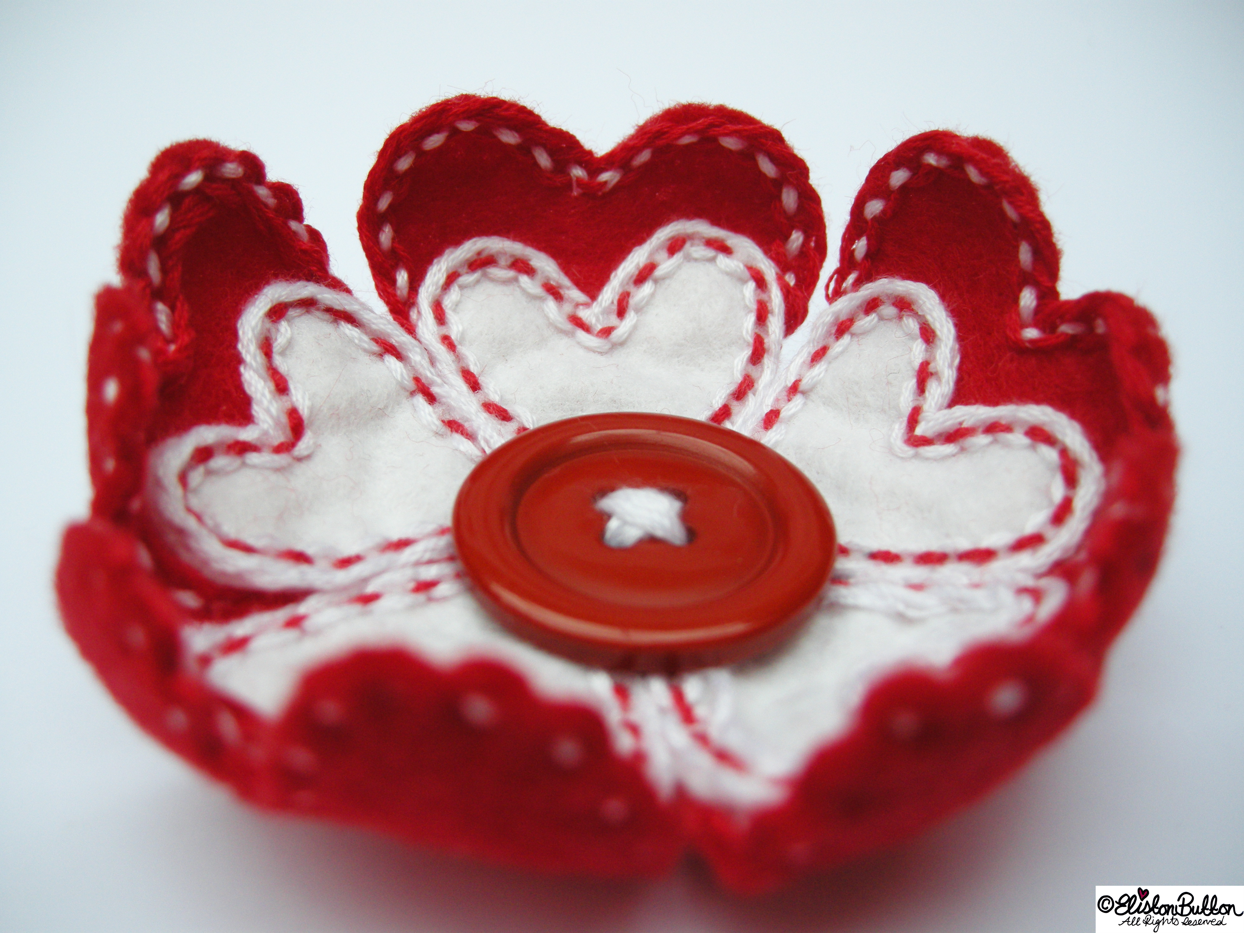Hello Lover Red and White Embroidered Felt Heart Petal Flower Brooch - Dimensional Petals - 27 Before 27 - Hello Lover... at www.elistonbutton.com - Eliston Button - That Crafty Kid – Art, Design, Craft & Adventure.