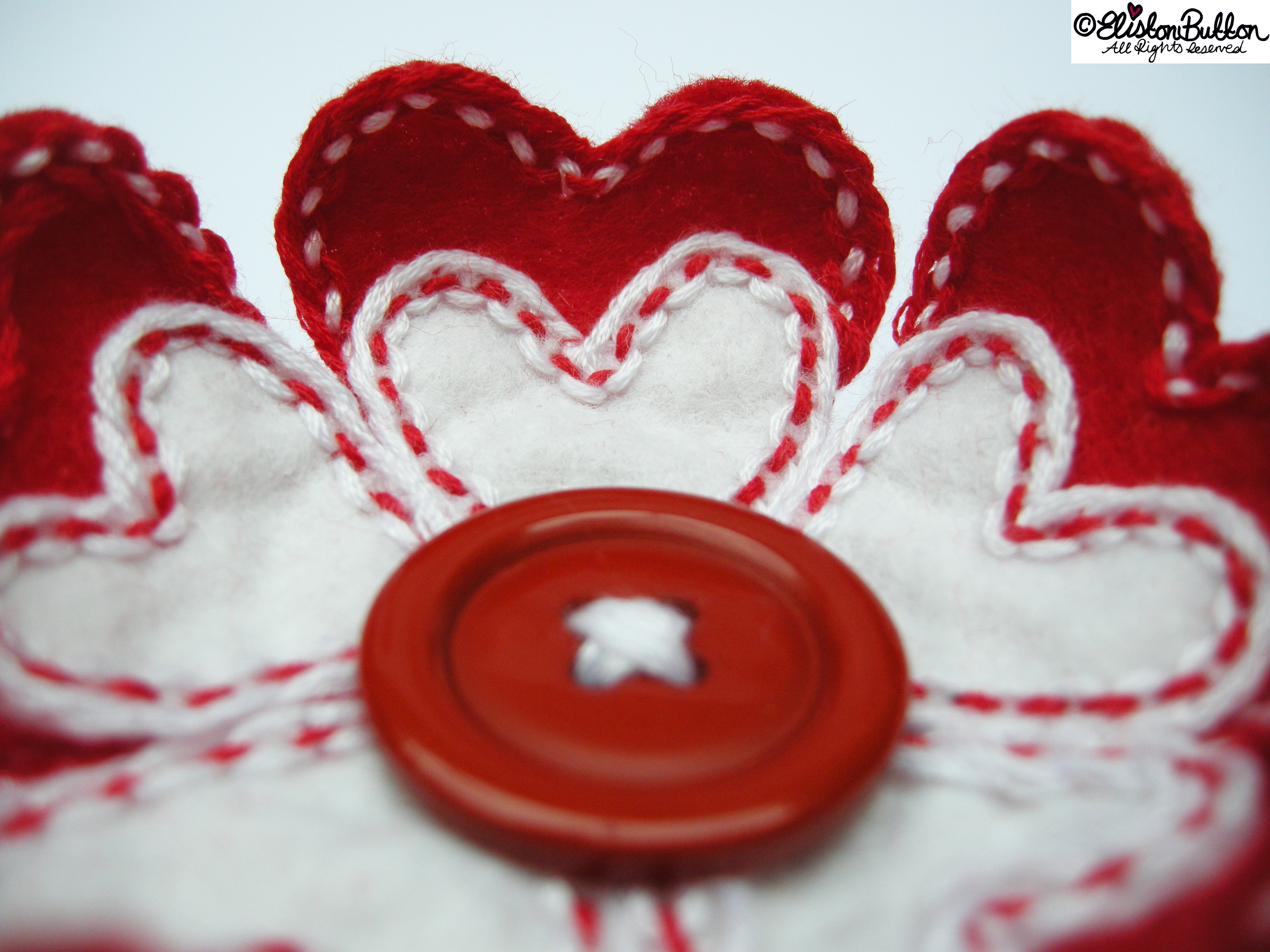 Hello Lover Red and White Embroidered Felt Heart Petal Flower Brooch - Dimensional Petals Close Up - 27 Before 27 - Hello Lover... at www.elistonbutton.com - Eliston Button - That Crafty Kid – Art, Design, Craft & Adventure.