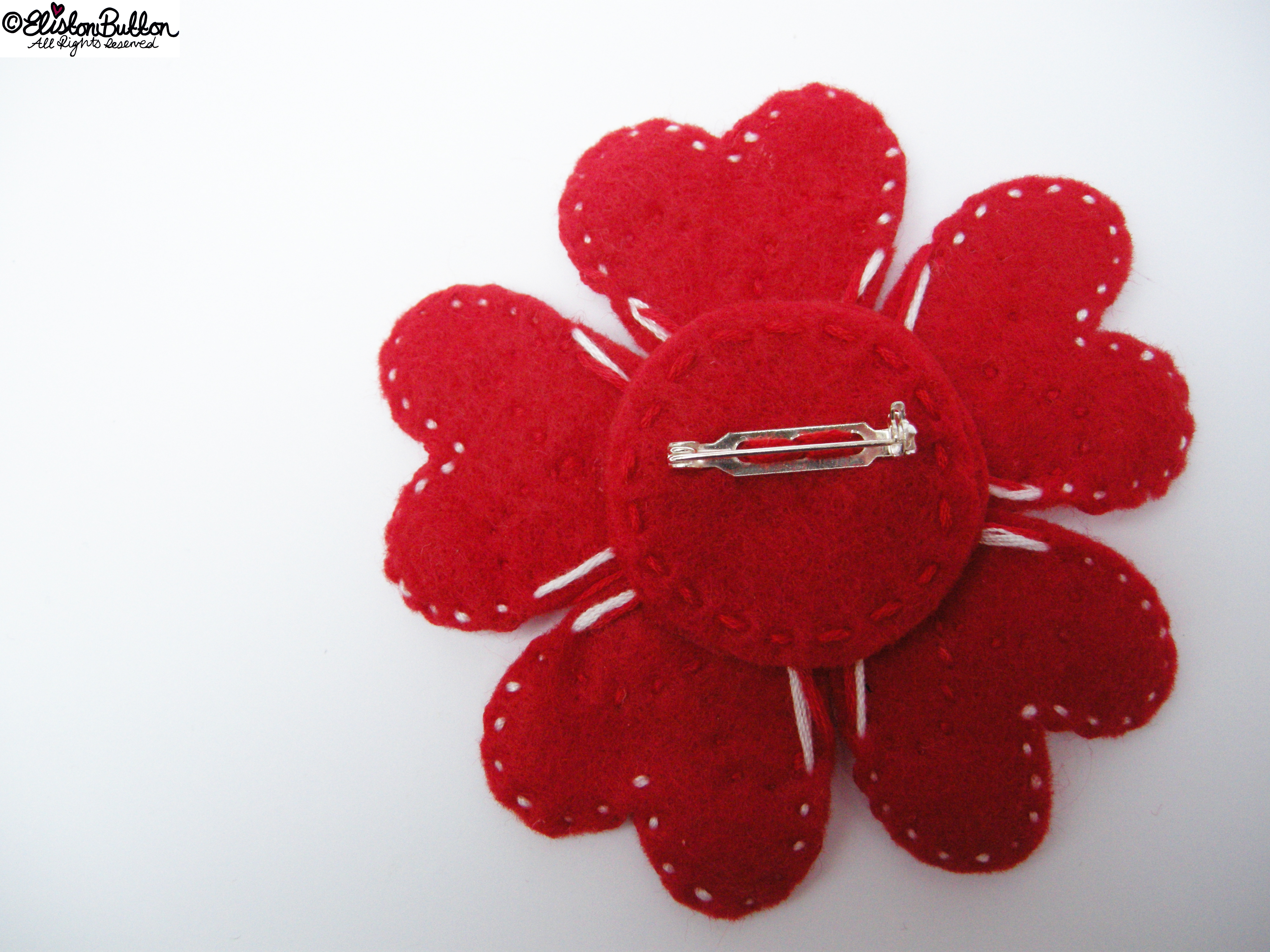 Hello Lover Red and White Embroidered Felt Heart Petal Flower Brooch - Brooch Back - 27 Before 27 - Hello Lover... at www.elistonbutton.com - Eliston Button - That Crafty Kid – Art, Design, Craft & Adventure.
