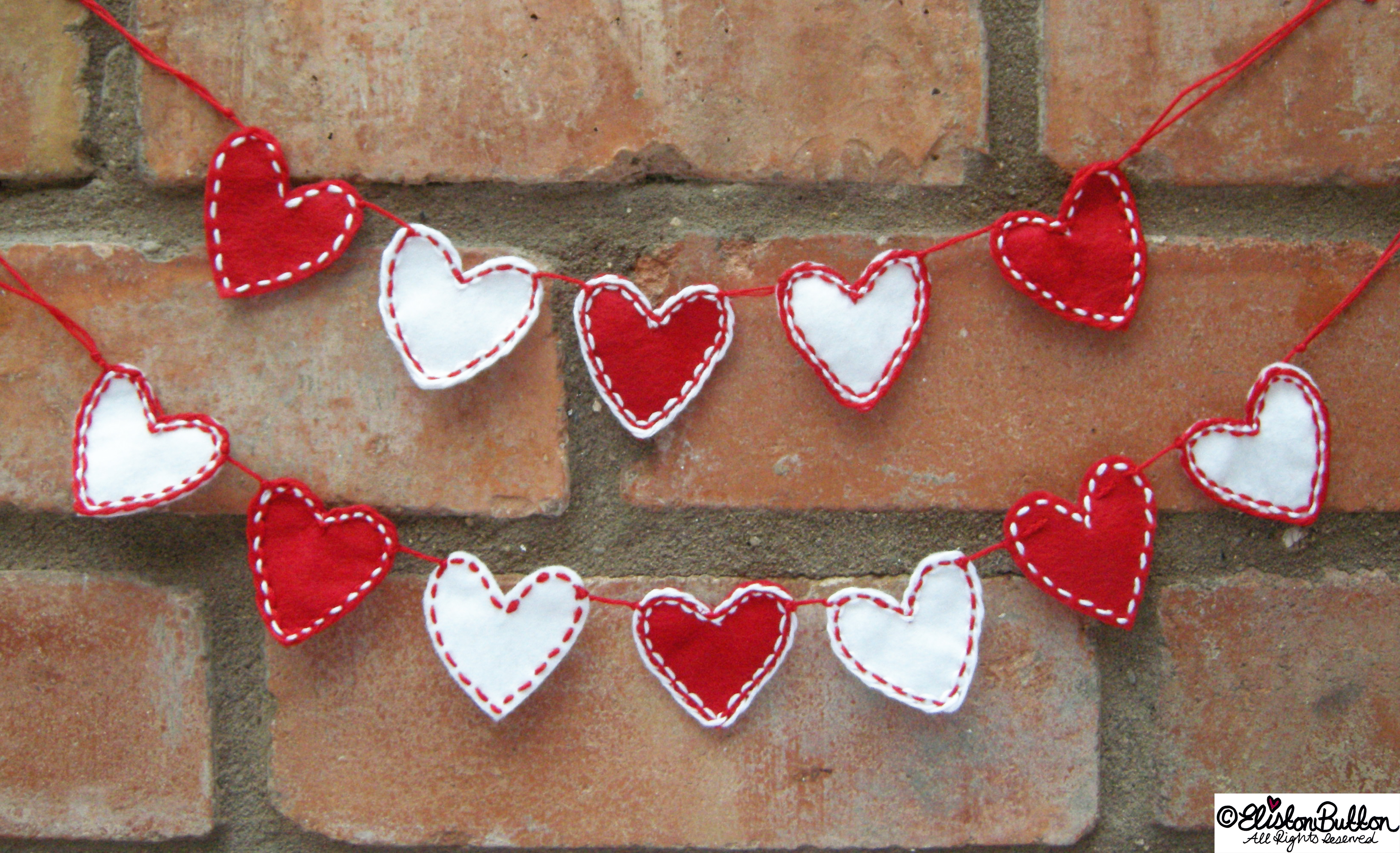 I Give You My Heart (Garland) Brick Background - I Give You My Heart (Garland) at www.elistonbutton.com - Eliston Button - That Crafty Kid – Art, Design, Craft & Adventure.