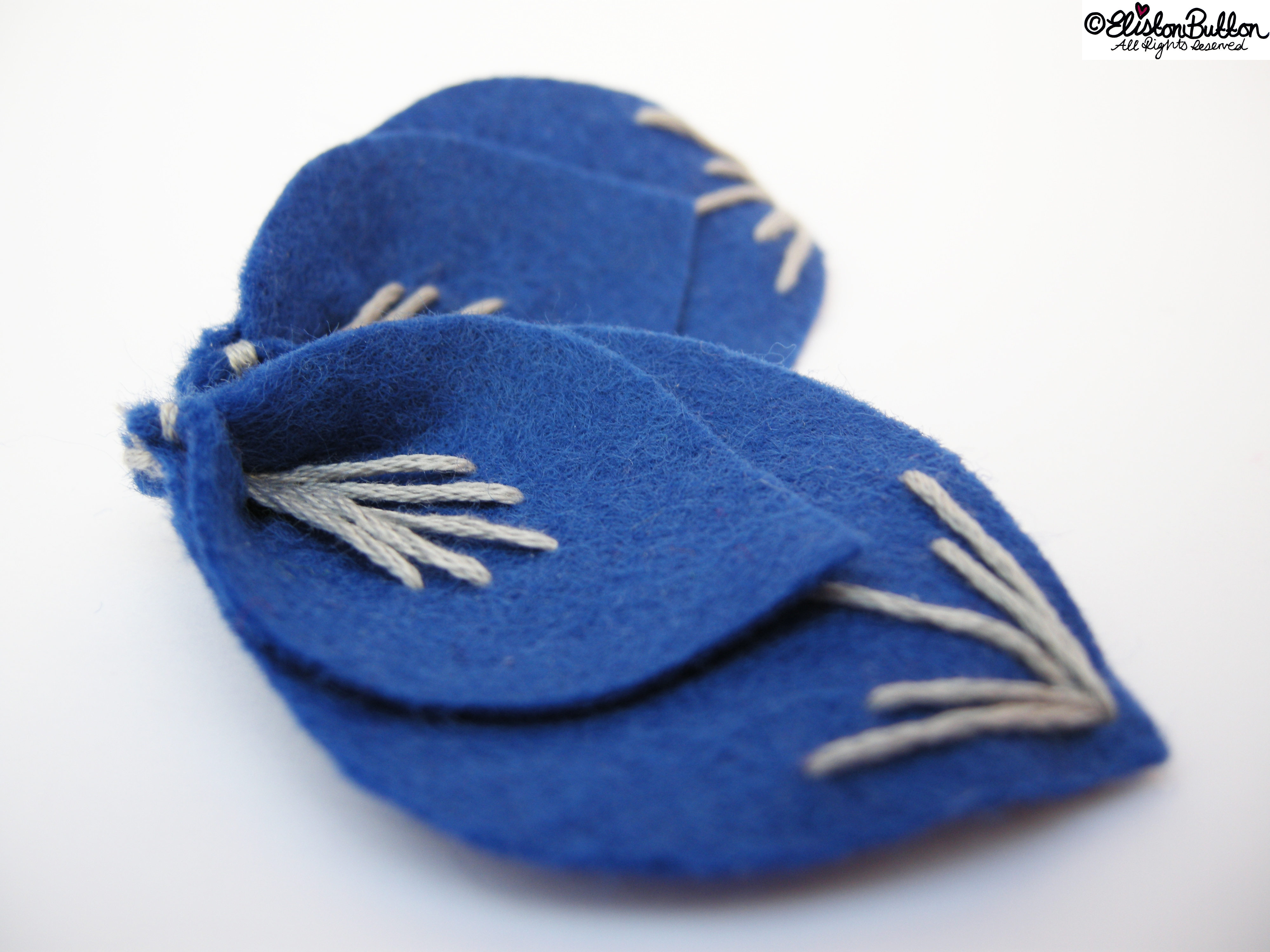 Embroidered Felt Flower Petals - Art Deco Inspired Two Piece Petals - 27 Before 27 - Out of the Blue at www.elistonbutton.com - Eliston Button - That Crafty Kid – Art, Design, Craft & Adventure.
