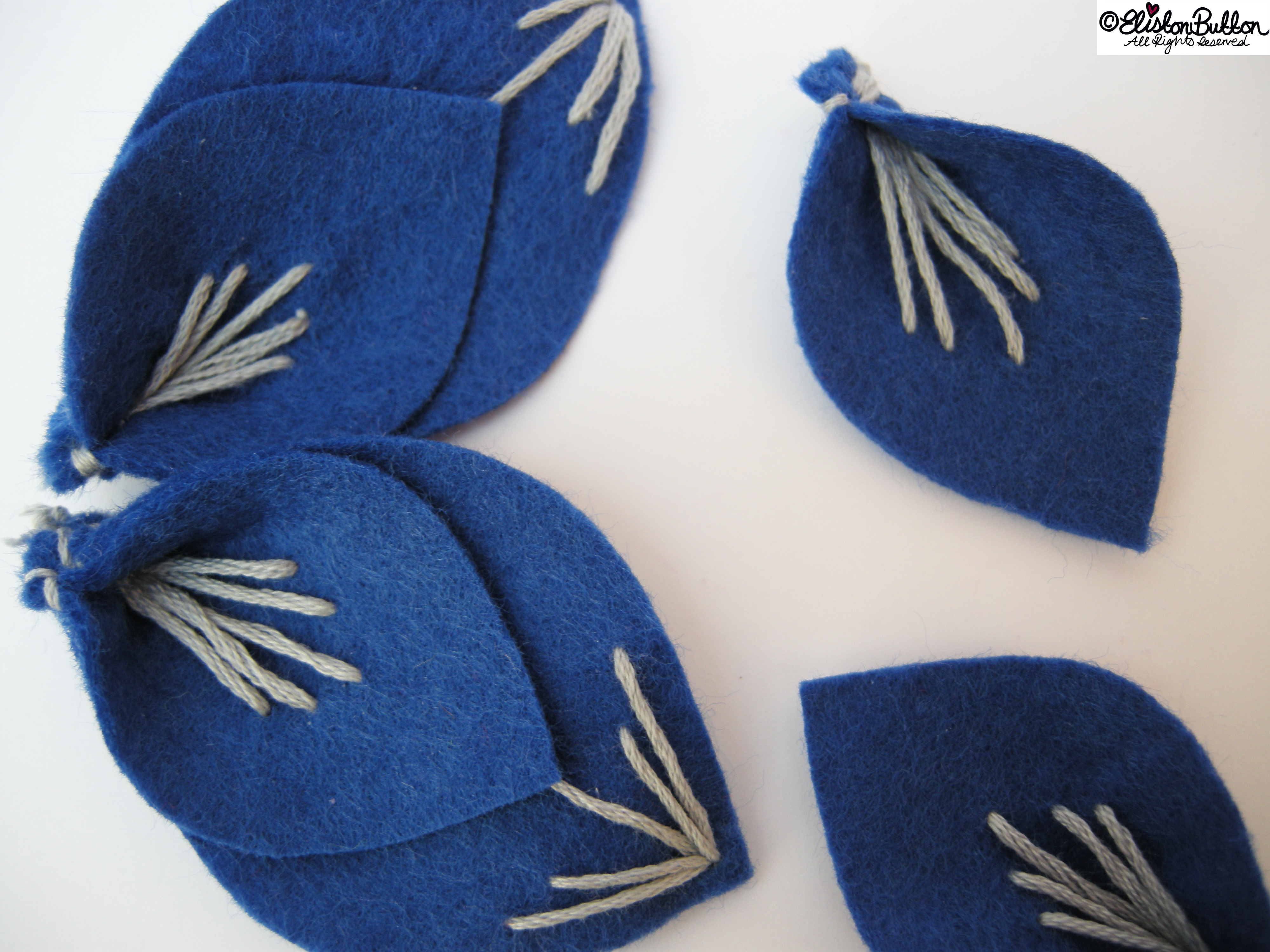 Embroidered Felt Flower Petals - Art Deco Inspired Two Piece Petals in a Row - 27 Before 27 - Out of the Blue at www.elistonbutton.com - Eliston Button - That Crafty Kid – Art, Design, Craft & Adventure.